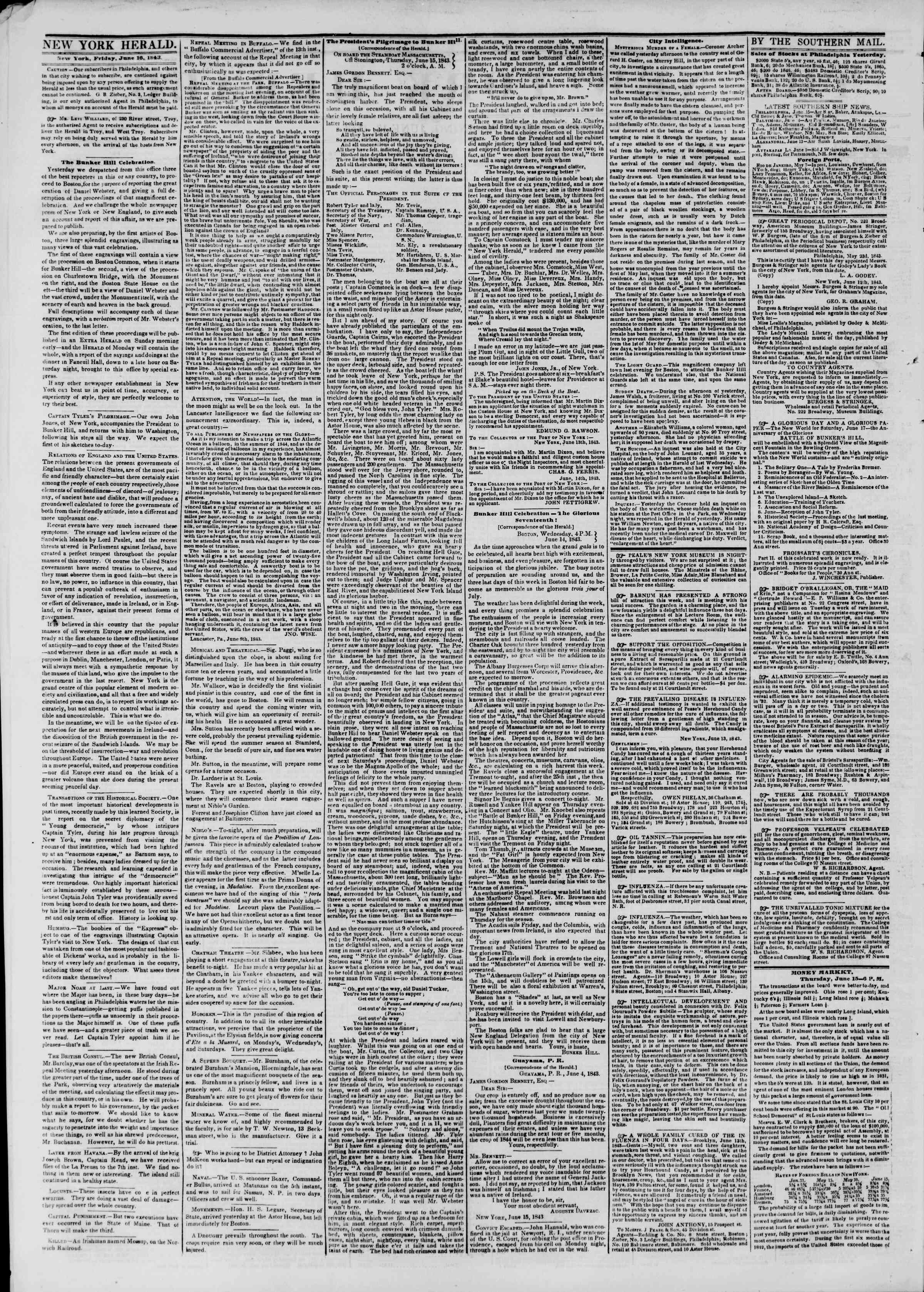 Newspaper of The New York Herald dated June 16, 1843 Page 2