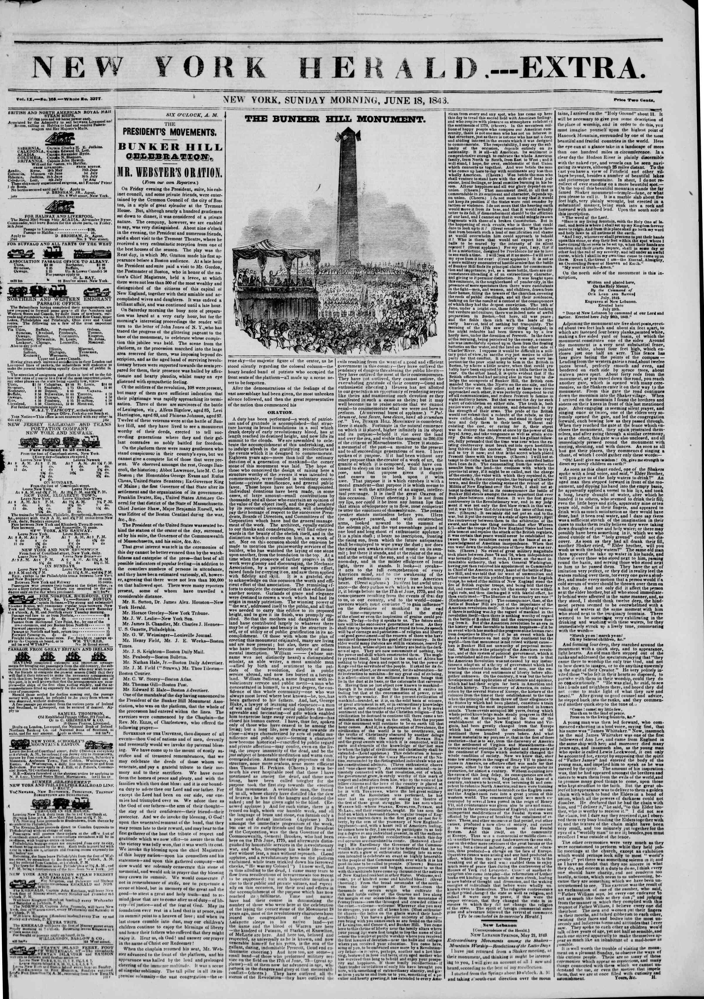 18 Haziran 1843 tarihli The New York Herald Gazetesi Sayfa 1