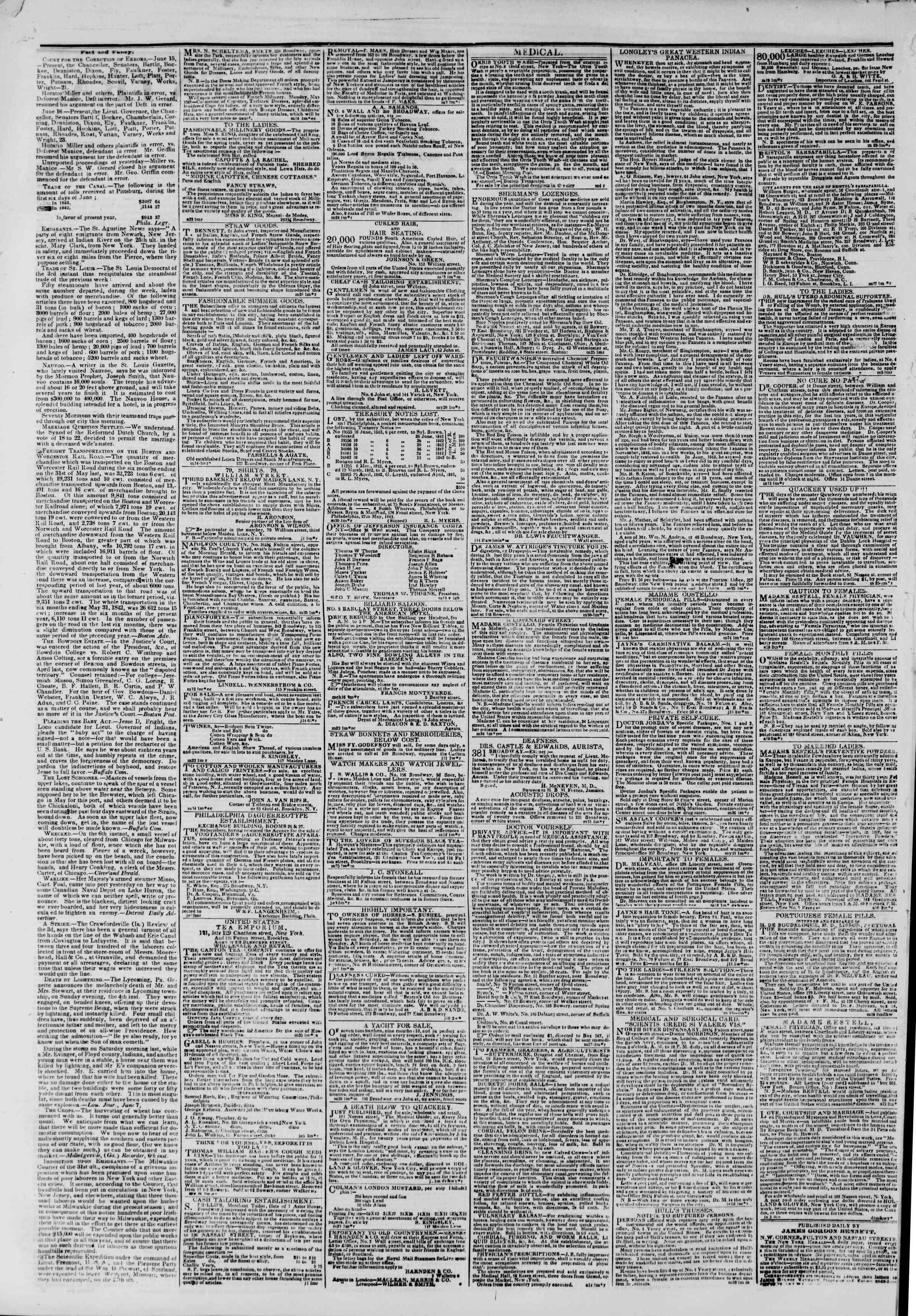 18 Haziran 1843 tarihli The New York Herald Gazetesi Sayfa 2