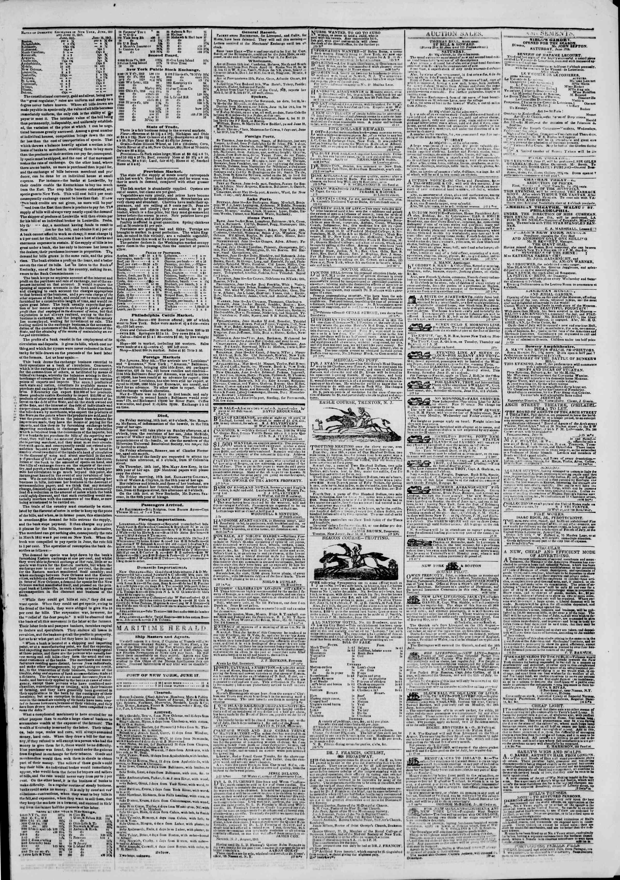 June 18, 1843 Tarihli The New York Herald Gazetesi Sayfa 3