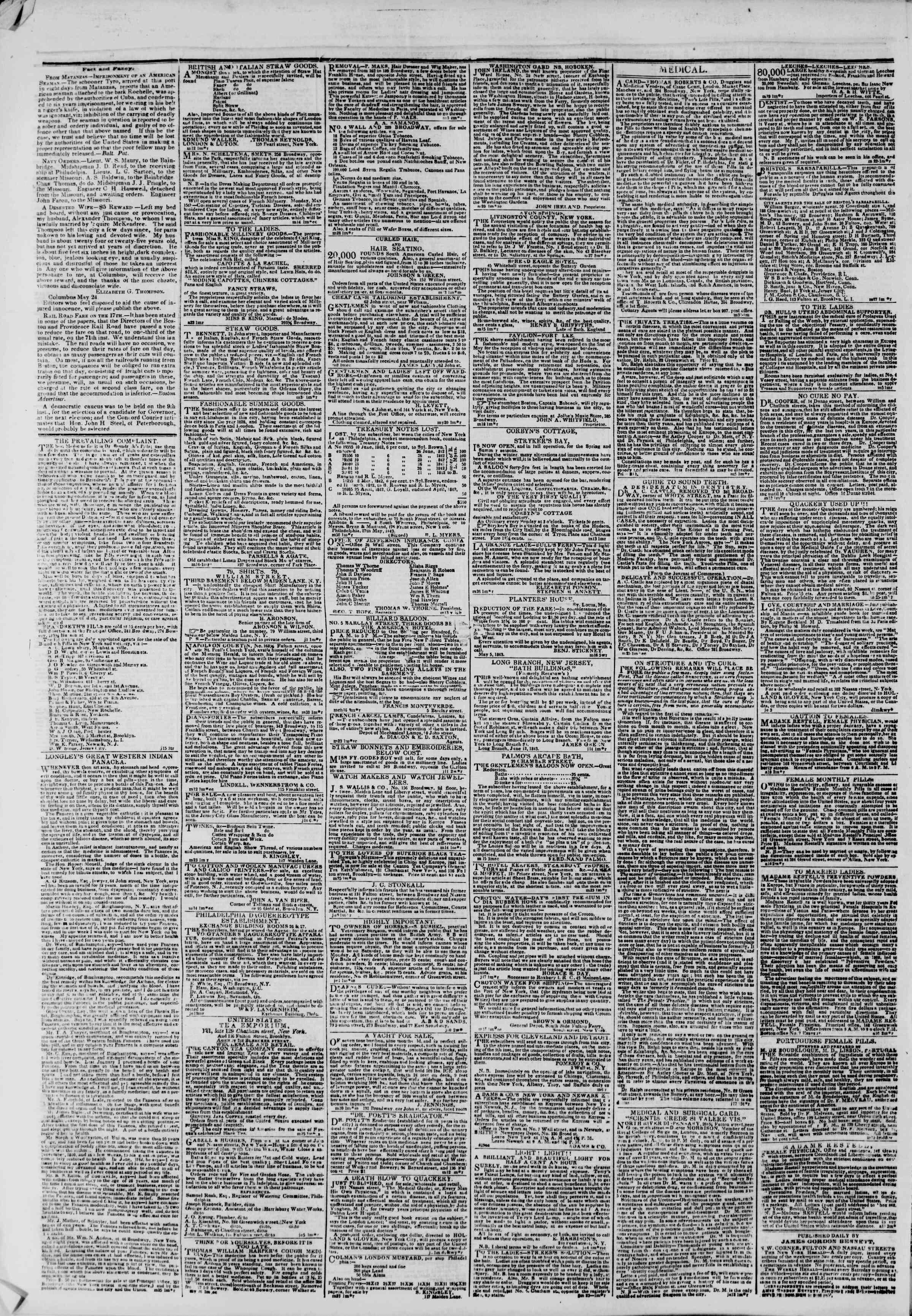 June 18, 1843 Tarihli The New York Herald Gazetesi Sayfa 4