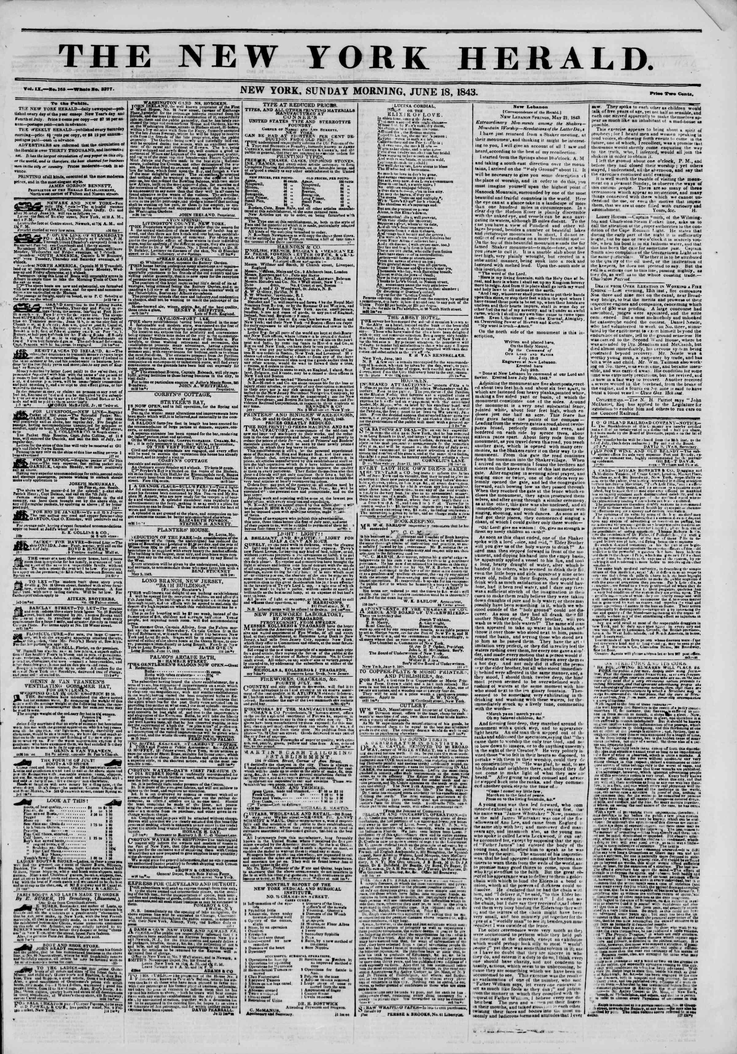 June 18, 1843 Tarihli The New York Herald Gazetesi Sayfa 5