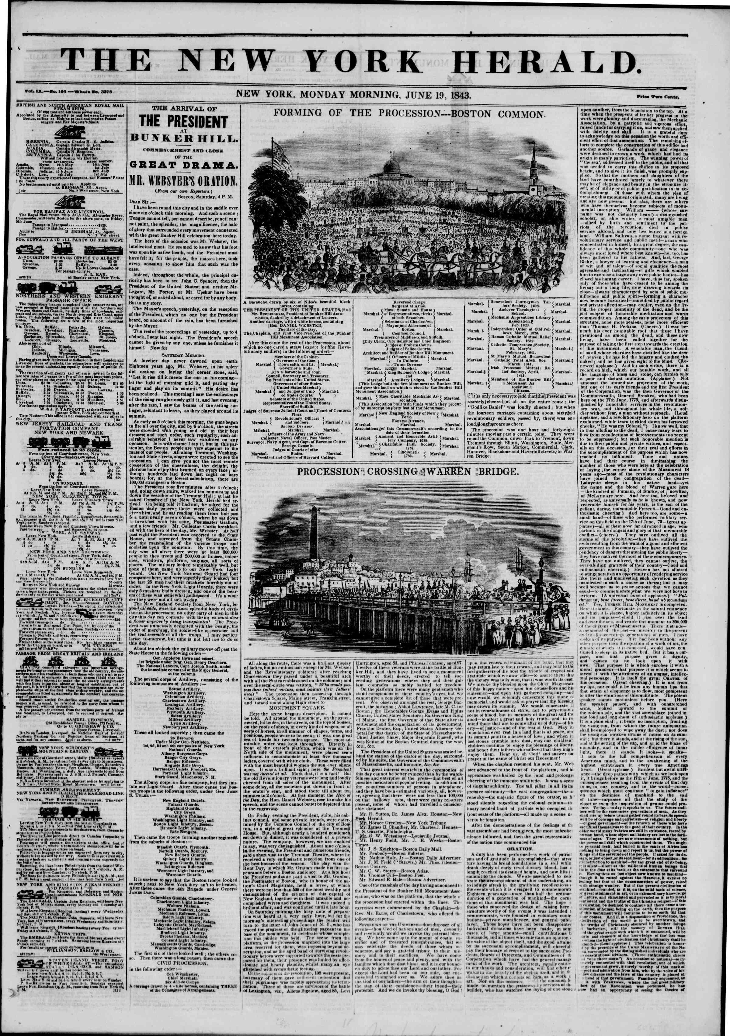 19 Haziran 1843 tarihli The New York Herald Gazetesi Sayfa 1