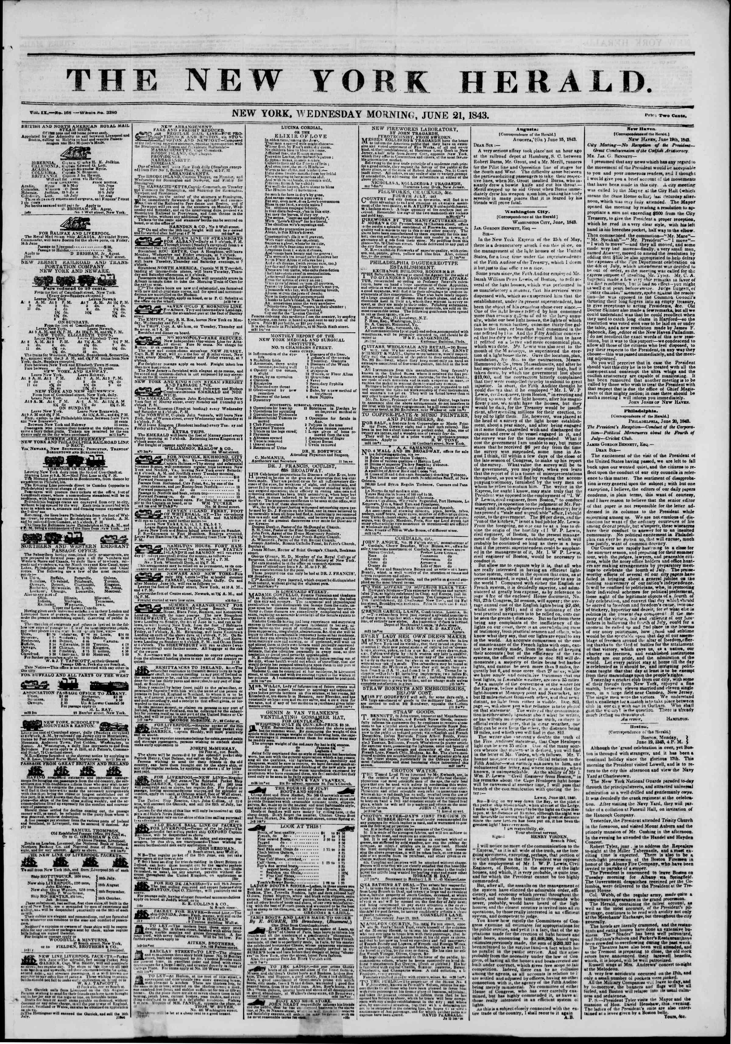 June 21, 1843 Tarihli The New York Herald Gazetesi Sayfa 1