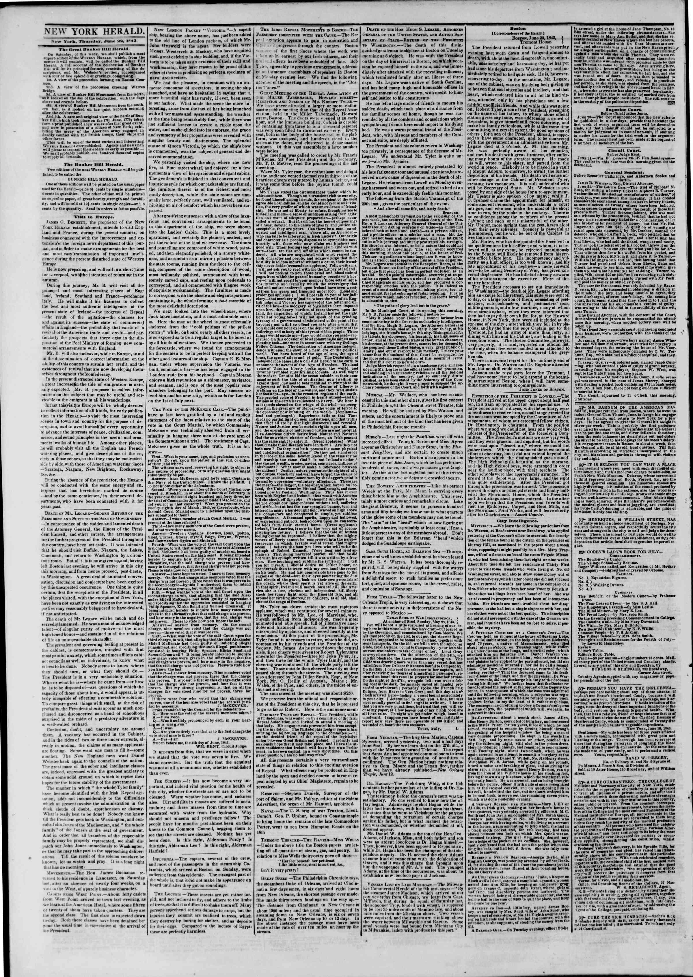 June 22, 1843 Tarihli The New York Herald Gazetesi Sayfa 2