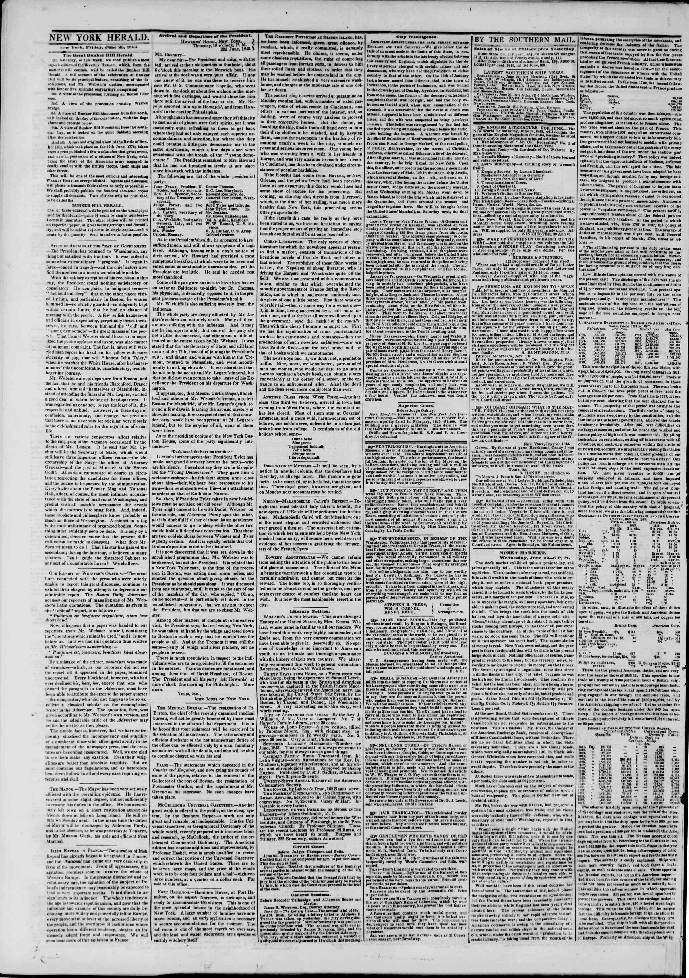 Newspaper of The New York Herald dated June 23, 1843 Page 2