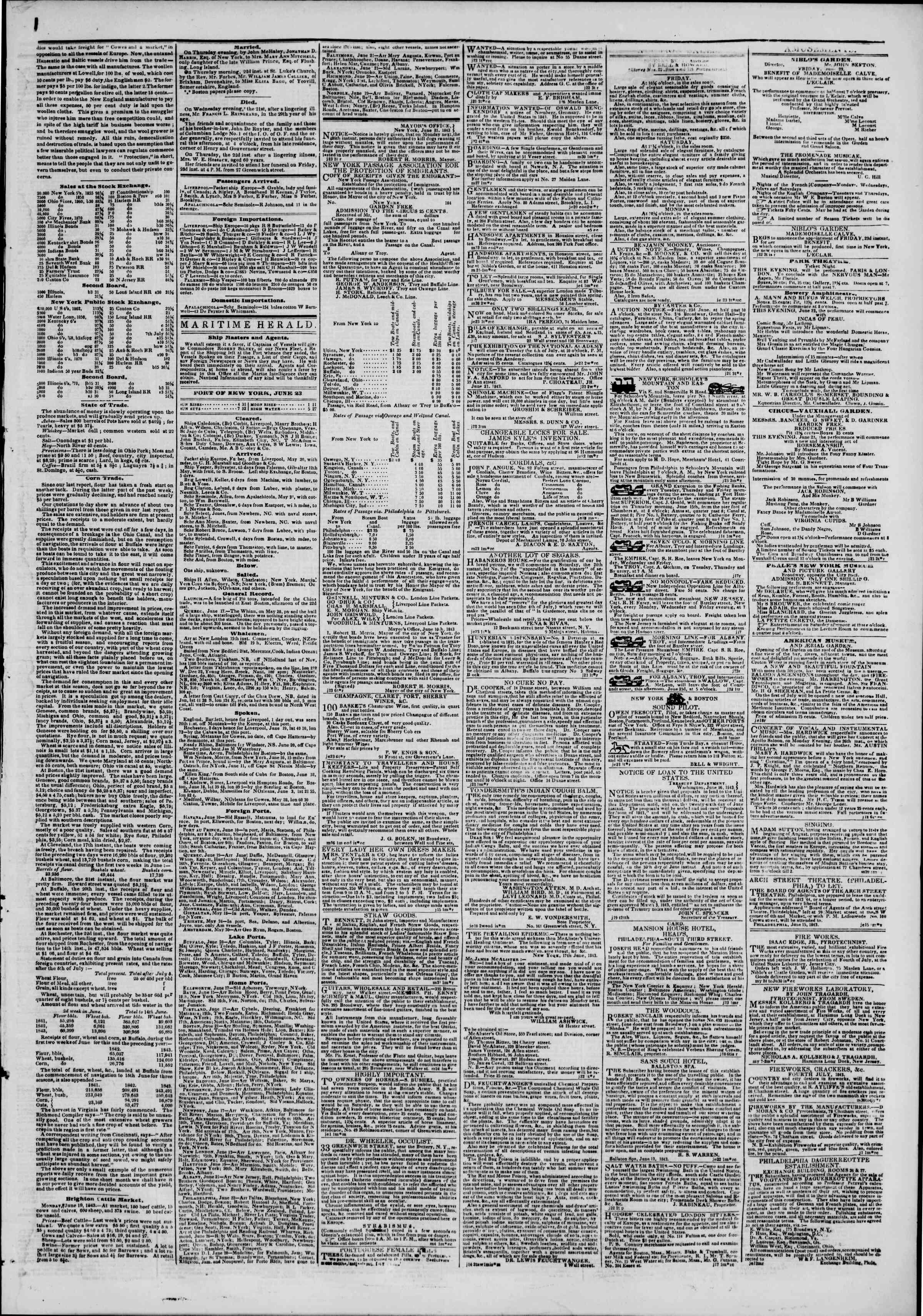 June 23, 1843 Tarihli The New York Herald Gazetesi Sayfa 3