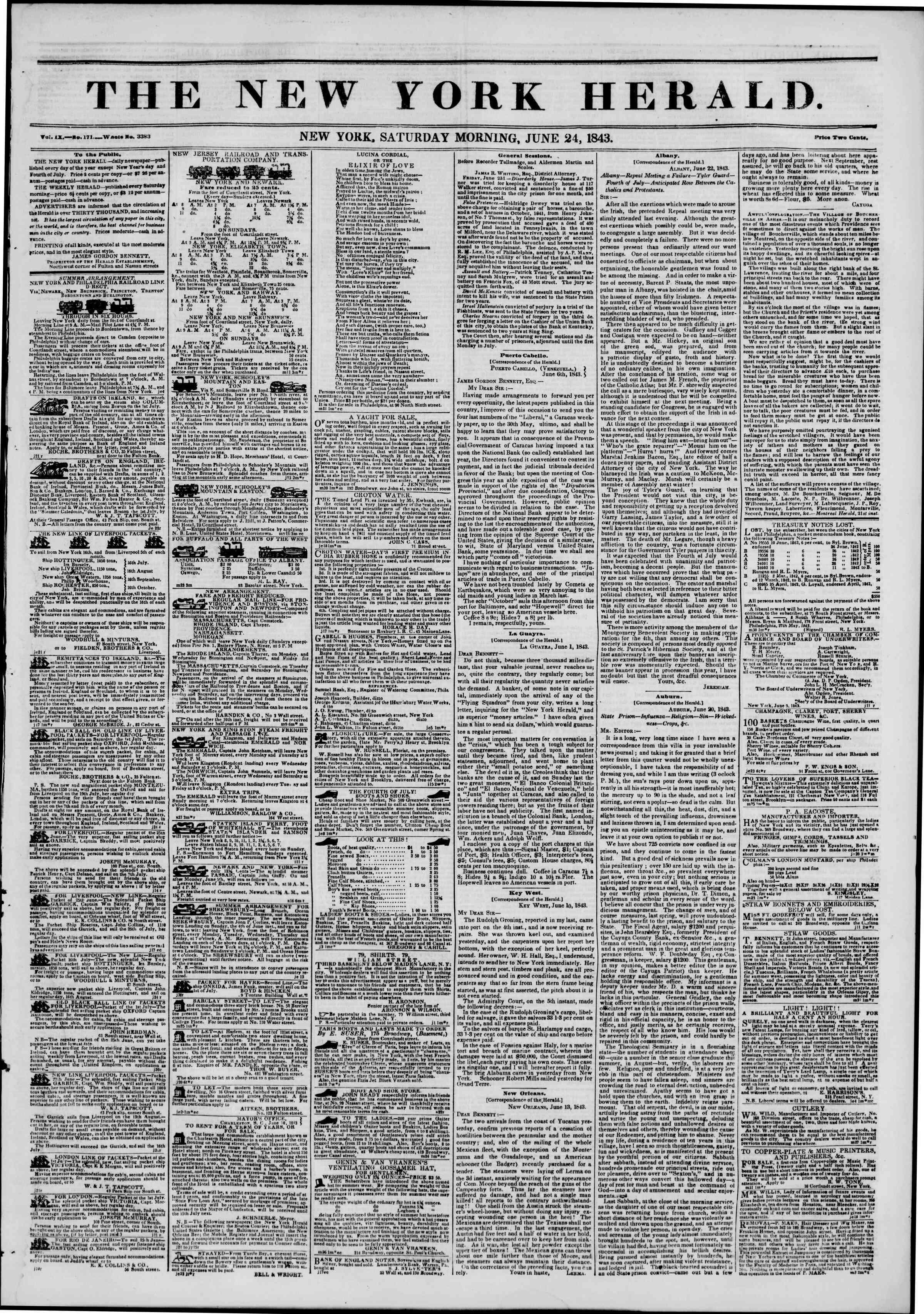 June 24, 1843 Tarihli The New York Herald Gazetesi Sayfa 1