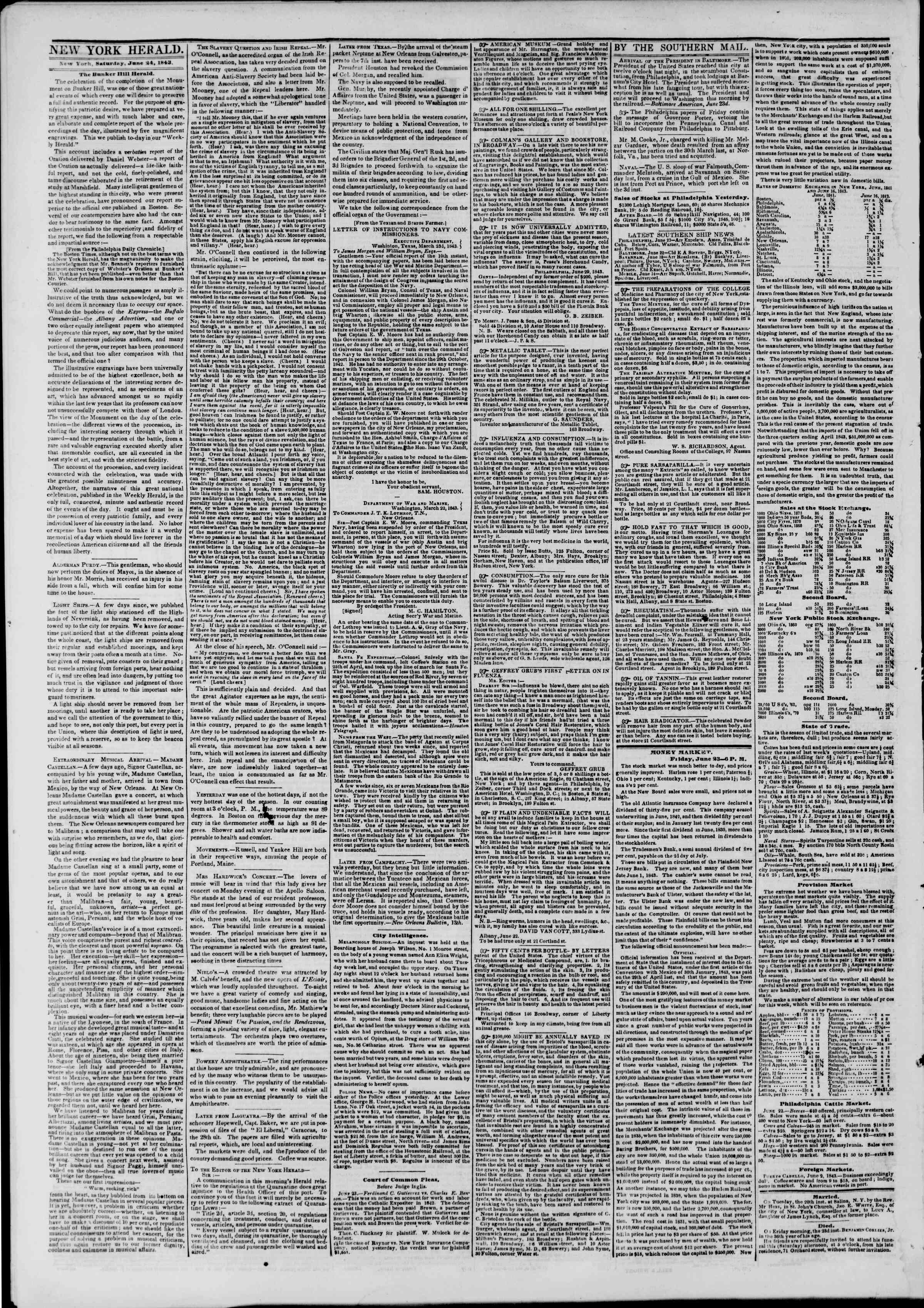 Newspaper of The New York Herald dated June 24, 1843 Page 2