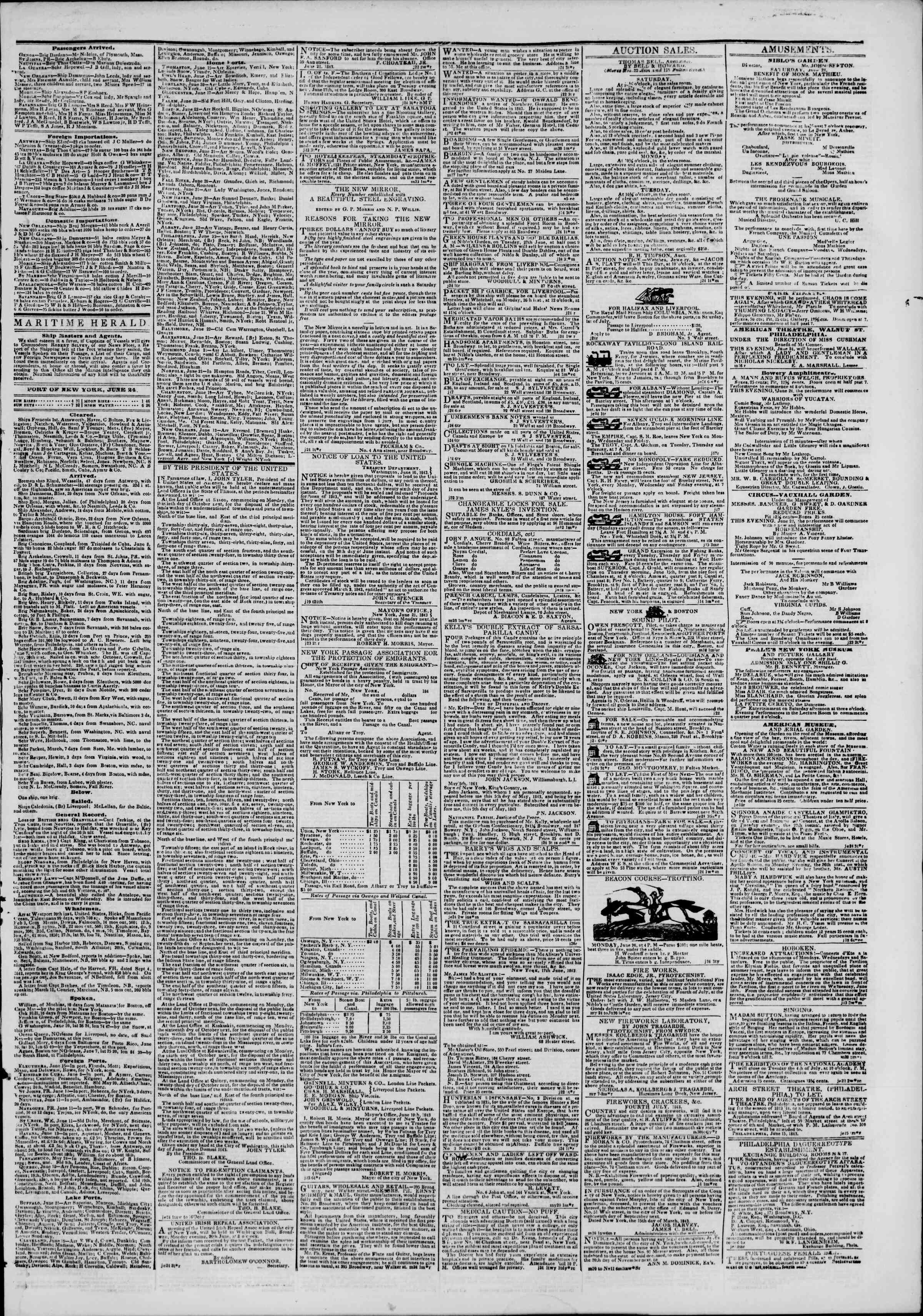Newspaper of The New York Herald dated June 24, 1843 Page 3