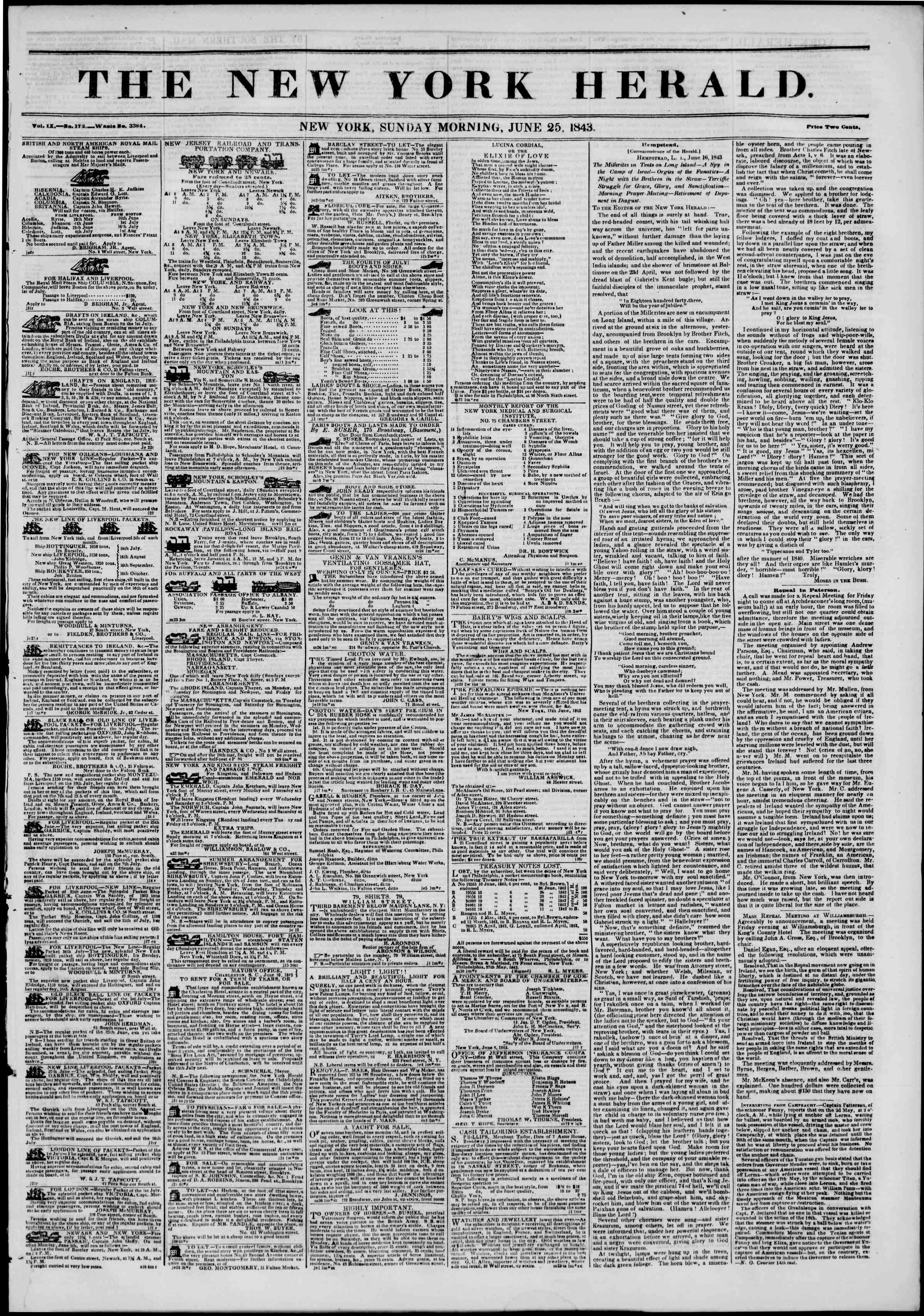 25 Haziran 1843 Tarihli The New York Herald Gazetesi Sayfa 1