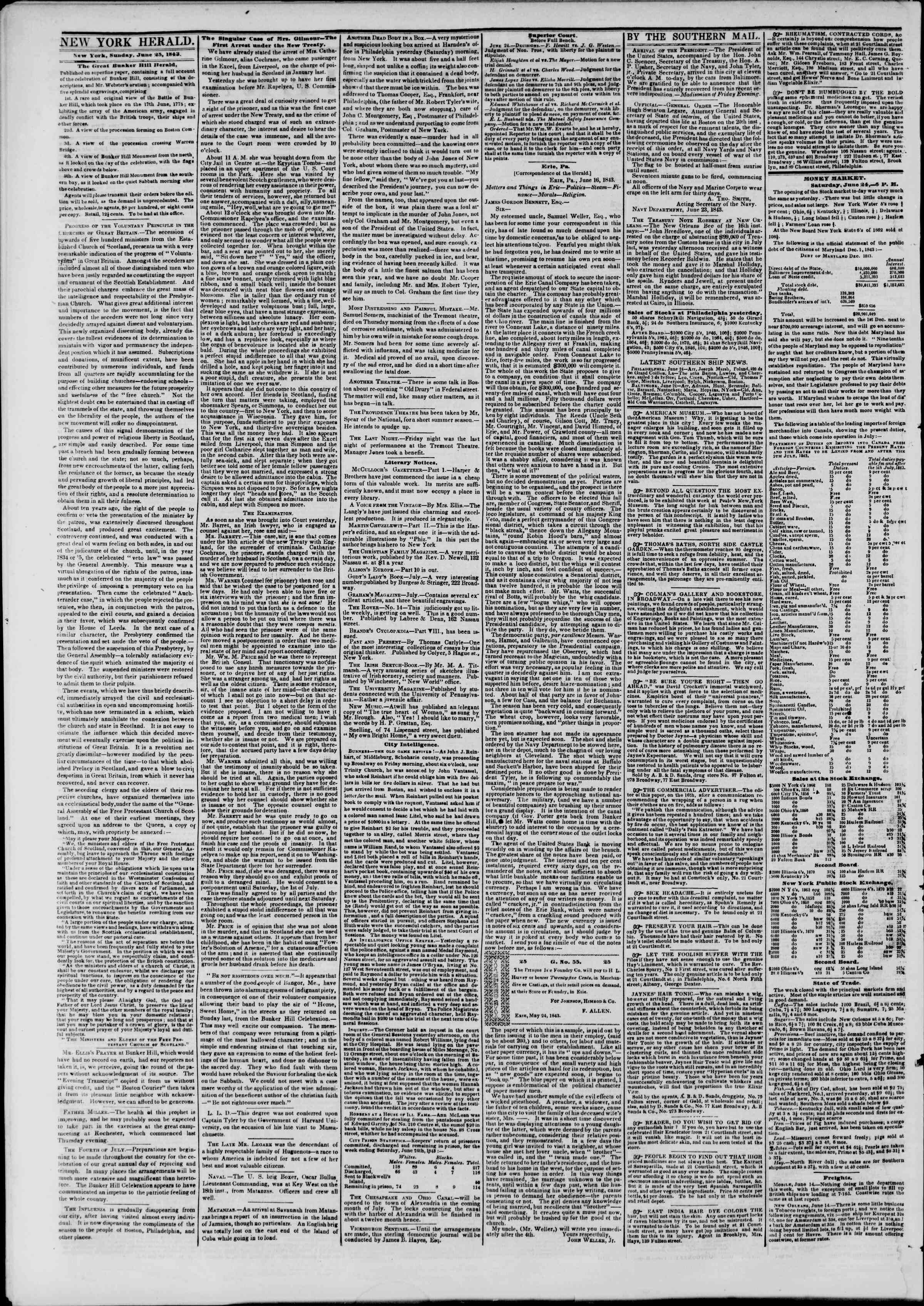 June 25, 1843 Tarihli The New York Herald Gazetesi Sayfa 2