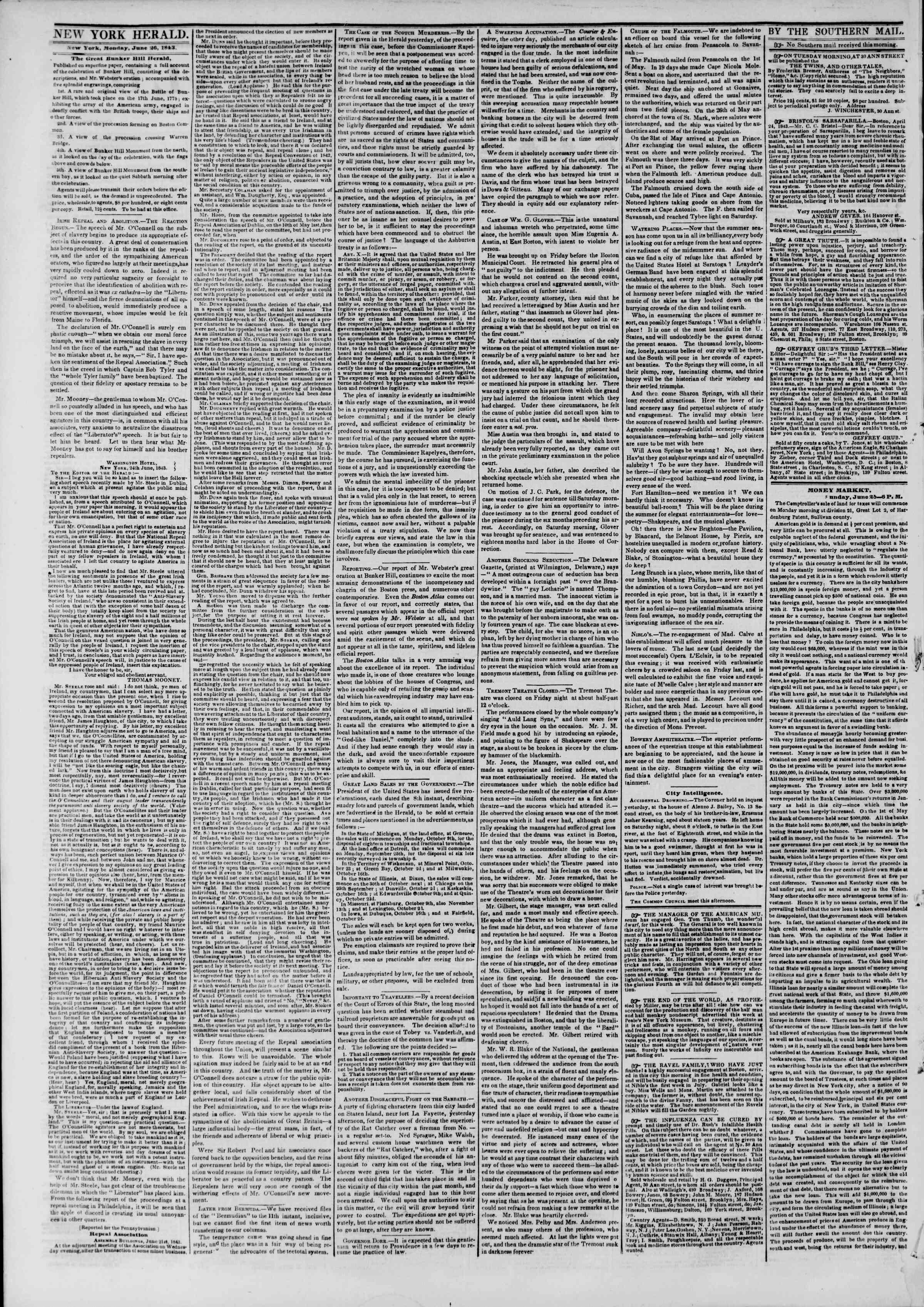 June 26, 1843 Tarihli The New York Herald Gazetesi Sayfa 2