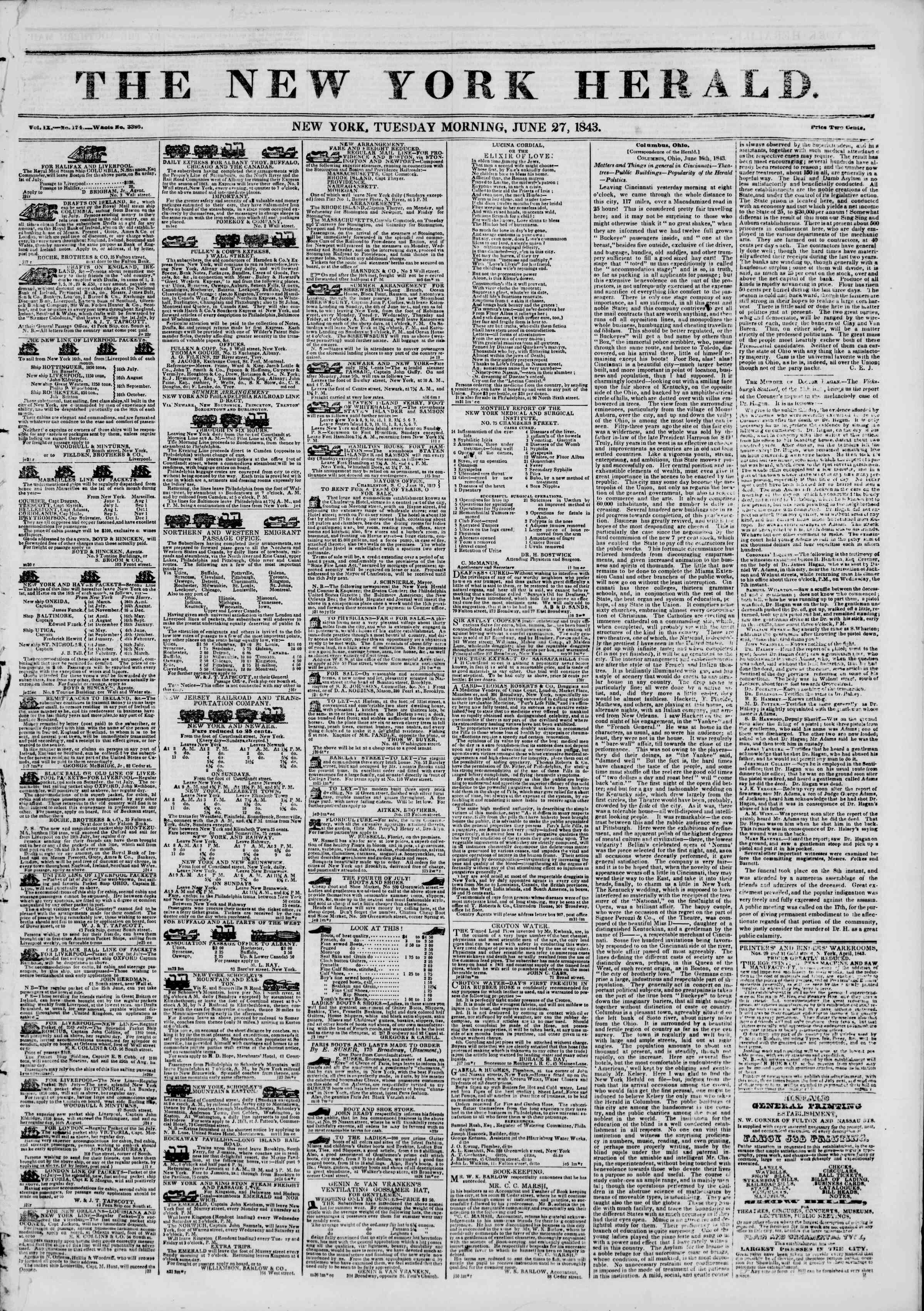 June 27, 1843 Tarihli The New York Herald Gazetesi Sayfa 1