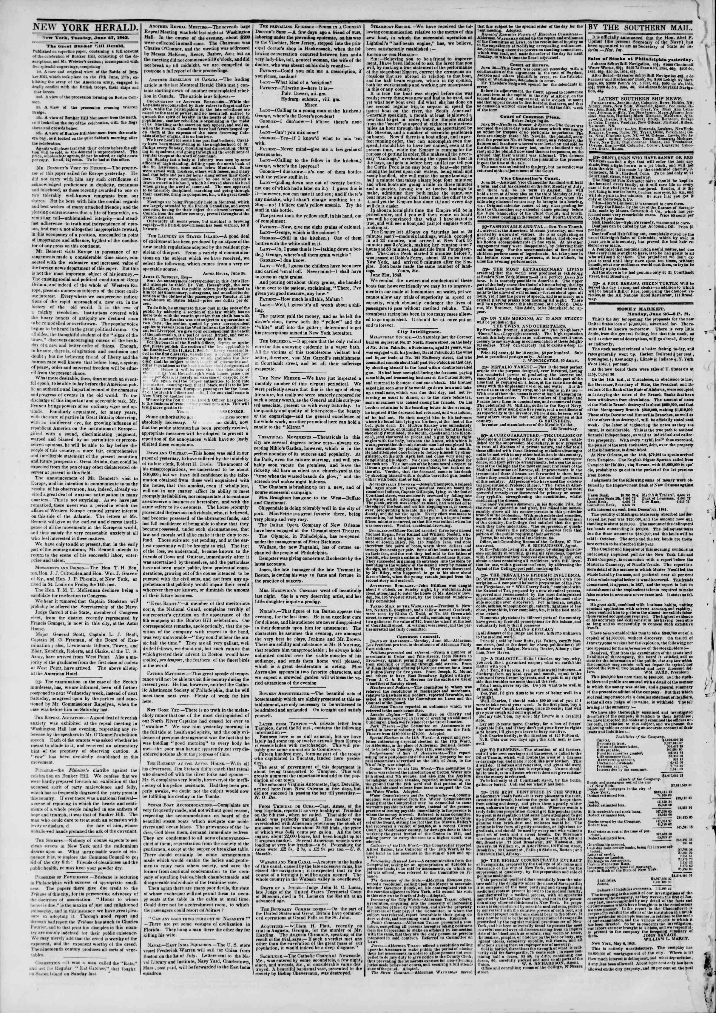 June 27, 1843 Tarihli The New York Herald Gazetesi Sayfa 2