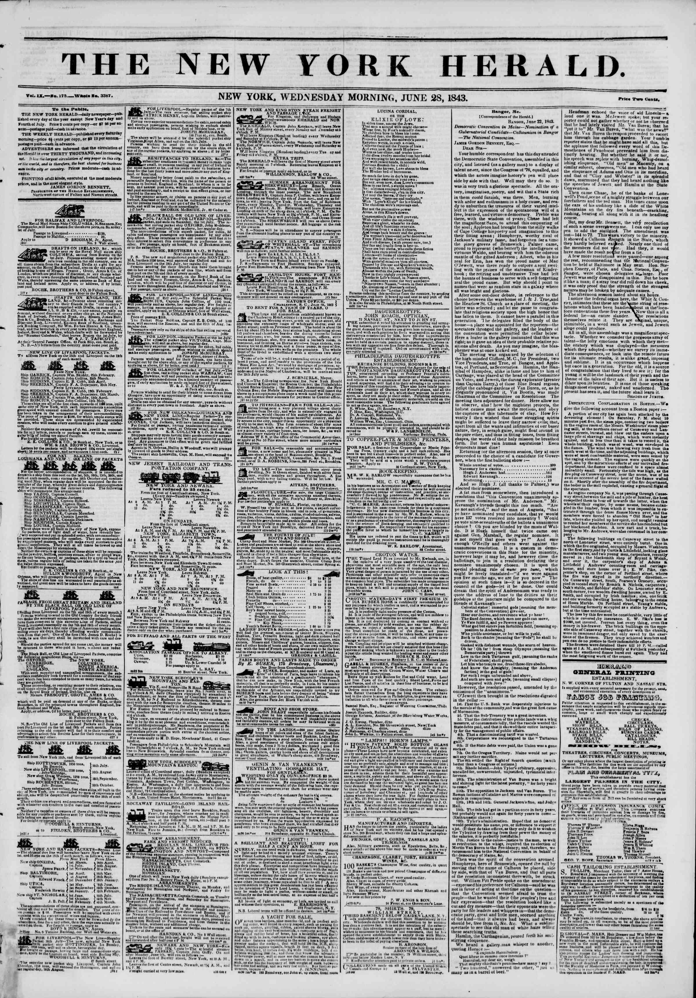 June 28, 1843 Tarihli The New York Herald Gazetesi Sayfa 1