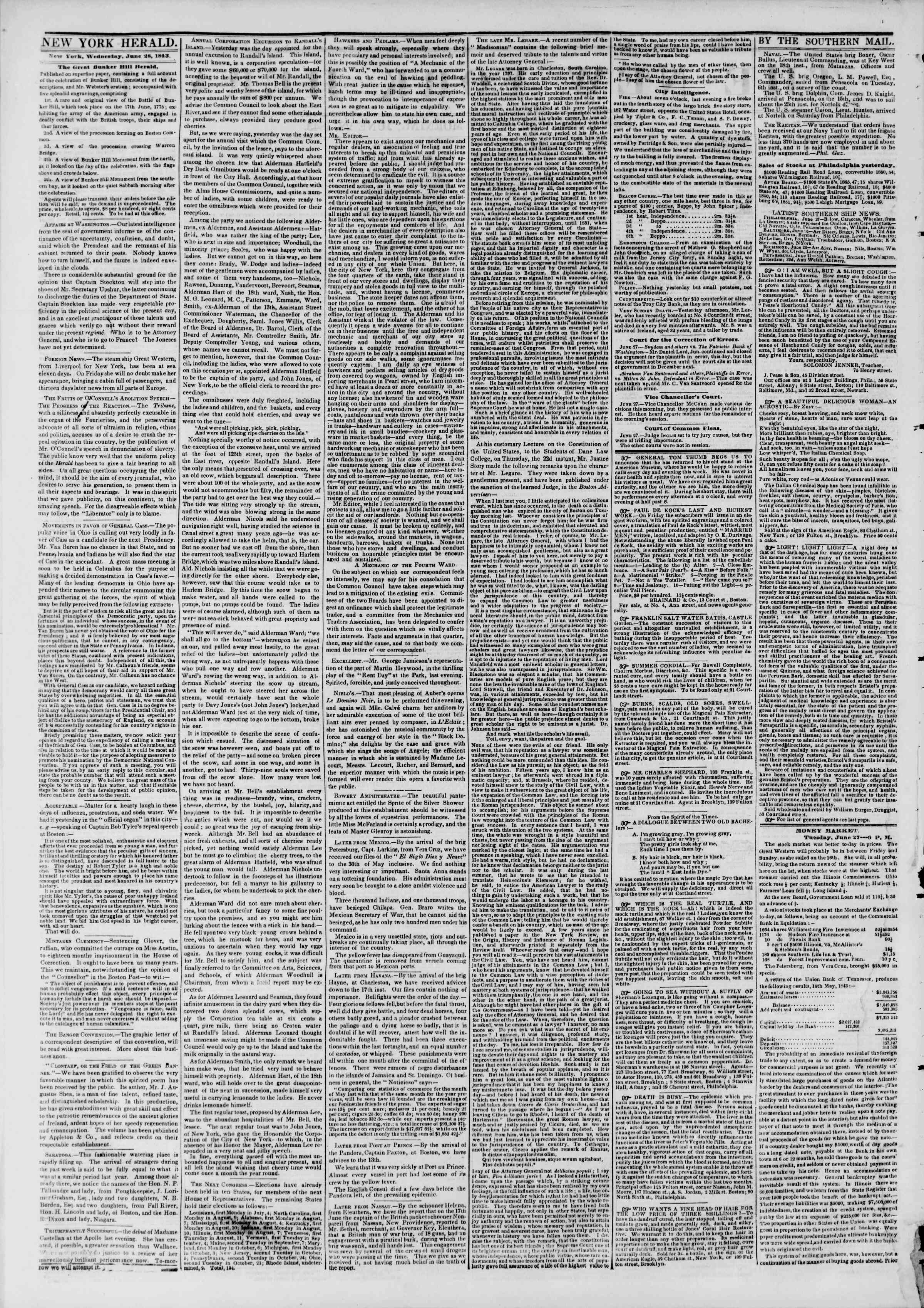 Newspaper of The New York Herald dated June 28, 1843 Page 2