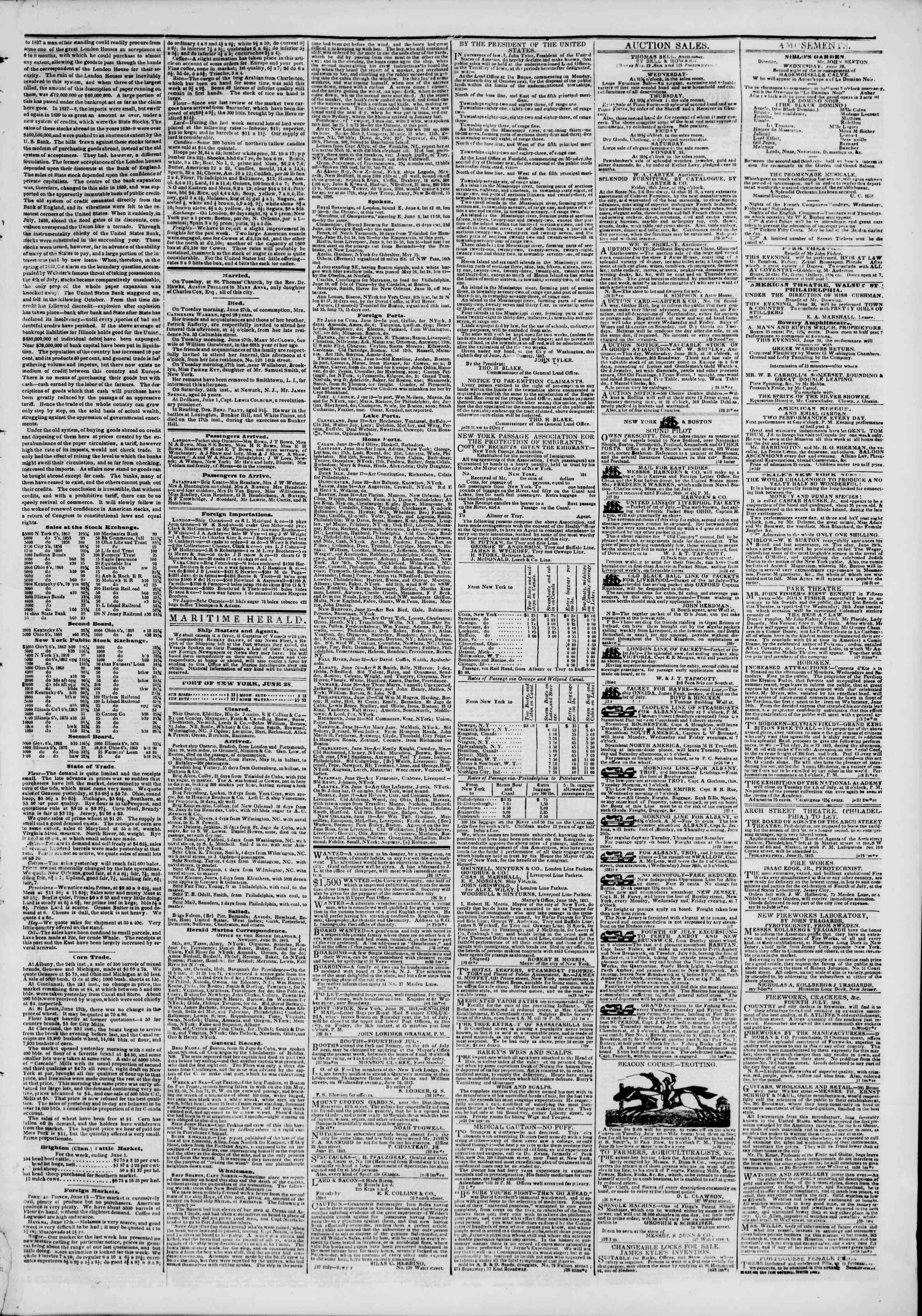 June 28, 1843 Tarihli The New York Herald Gazetesi Sayfa 3