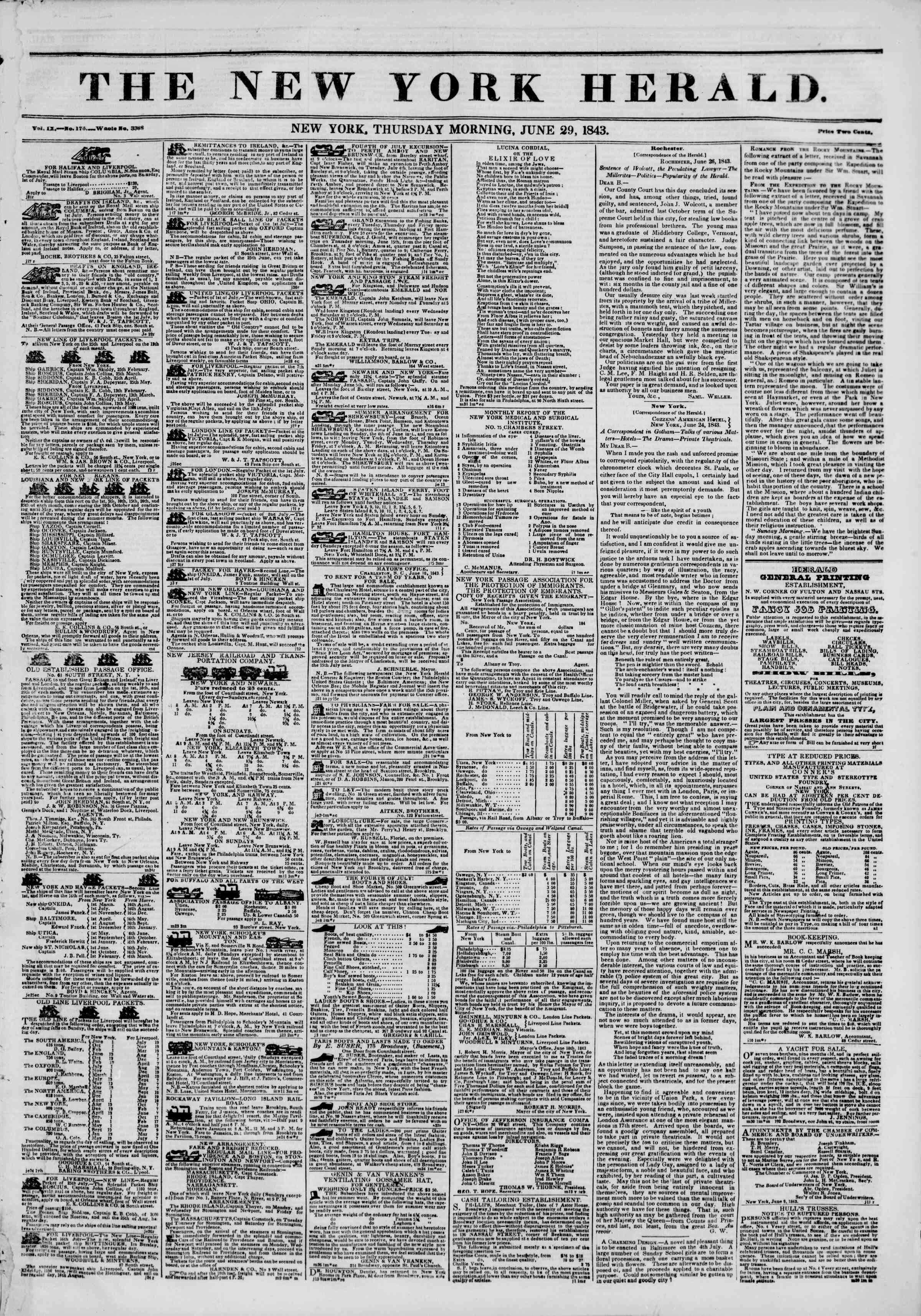 Newspaper of The New York Herald dated June 29, 1843 Page 1