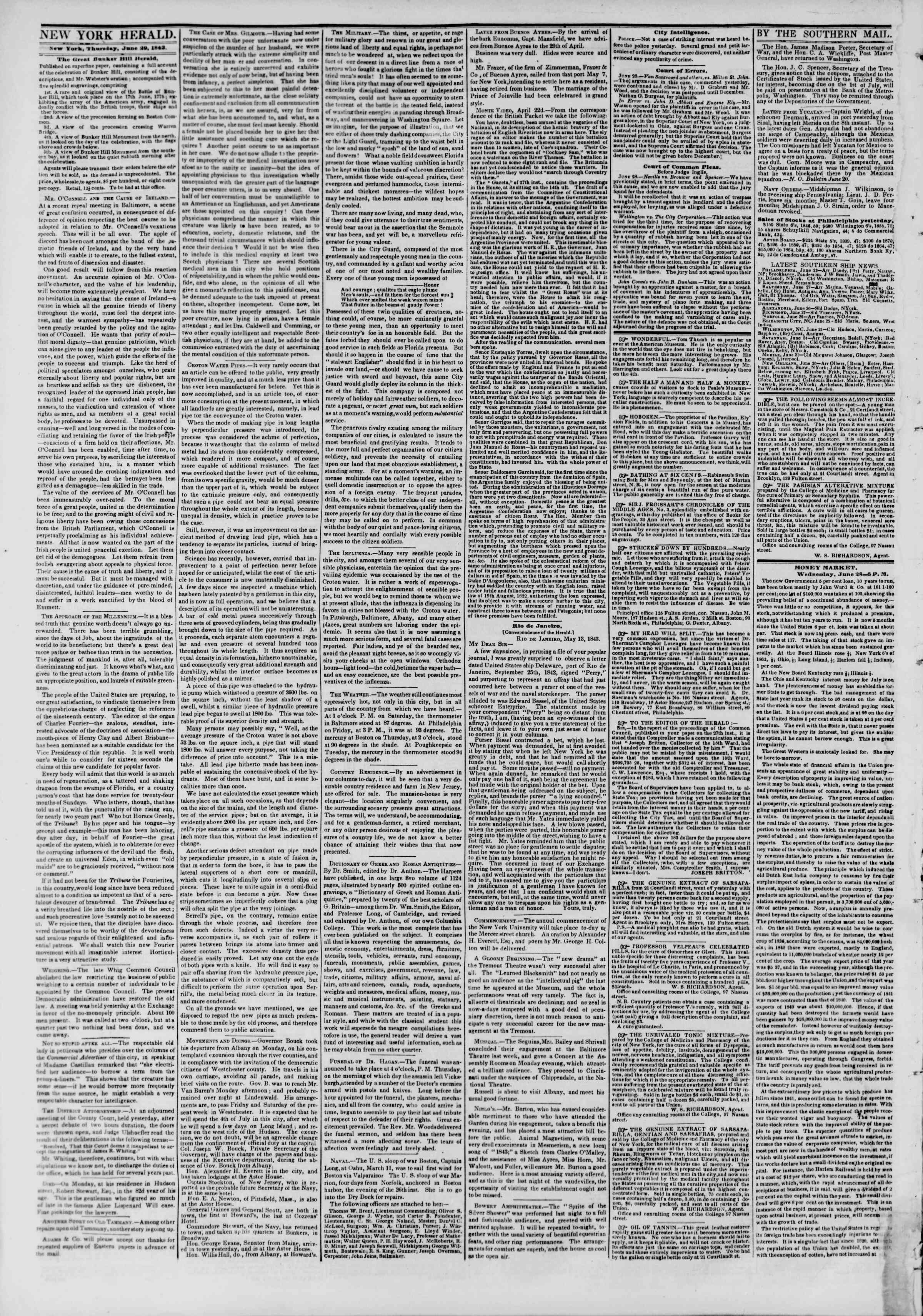 Newspaper of The New York Herald dated June 29, 1843 Page 2
