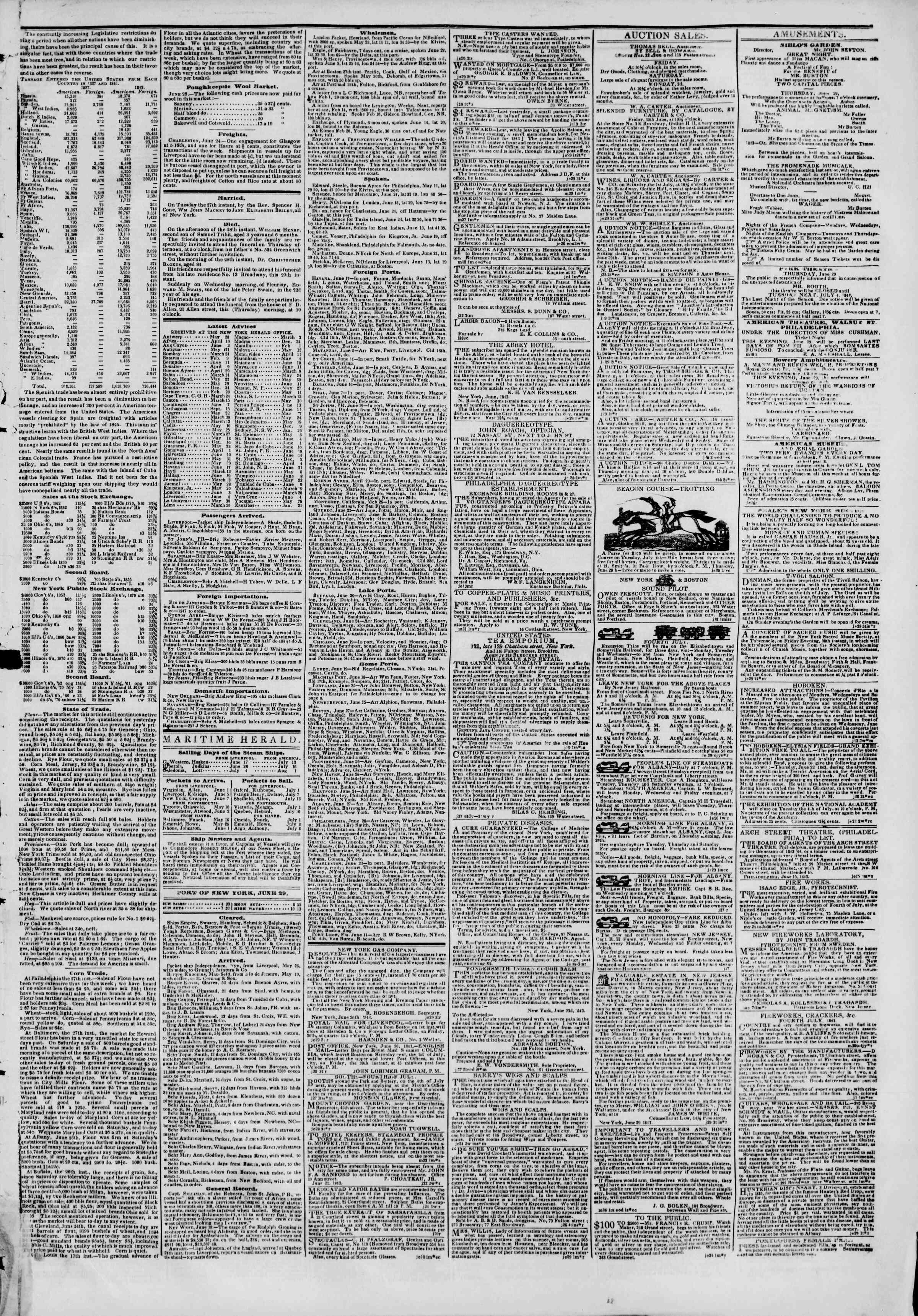 June 29, 1843 Tarihli The New York Herald Gazetesi Sayfa 3