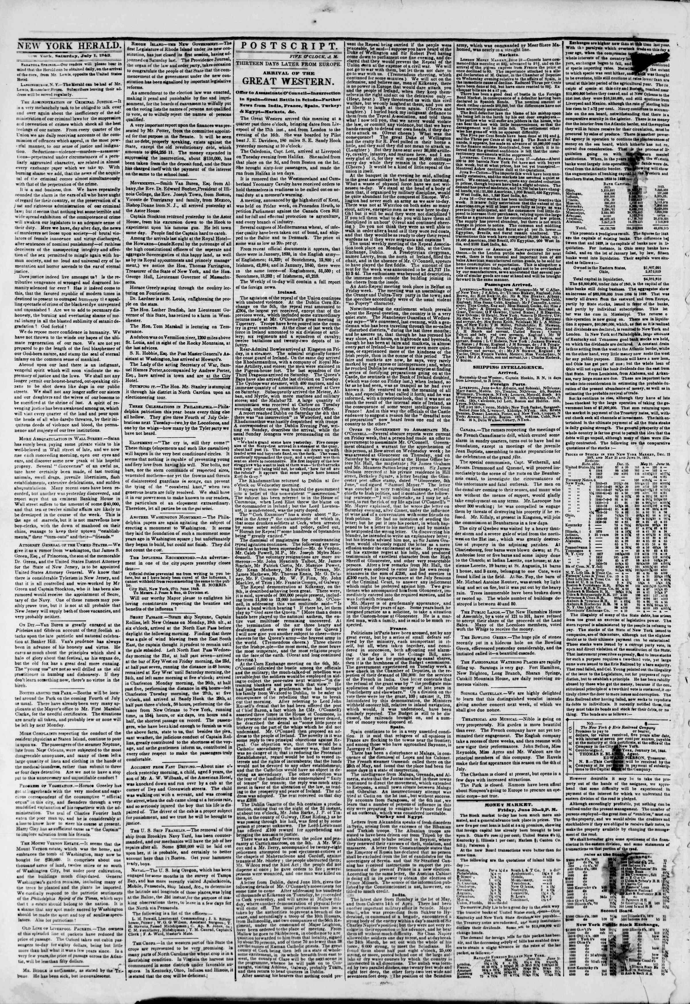 July 1, 1843 Tarihli The New York Herald Gazetesi Sayfa 2