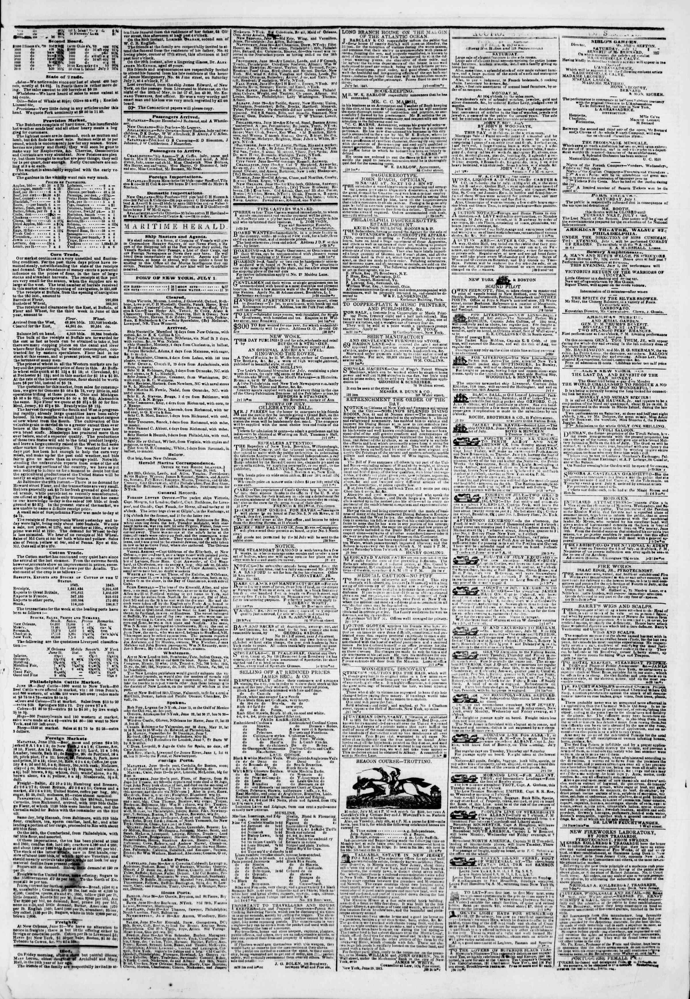 July 1, 1843 Tarihli The New York Herald Gazetesi Sayfa 3