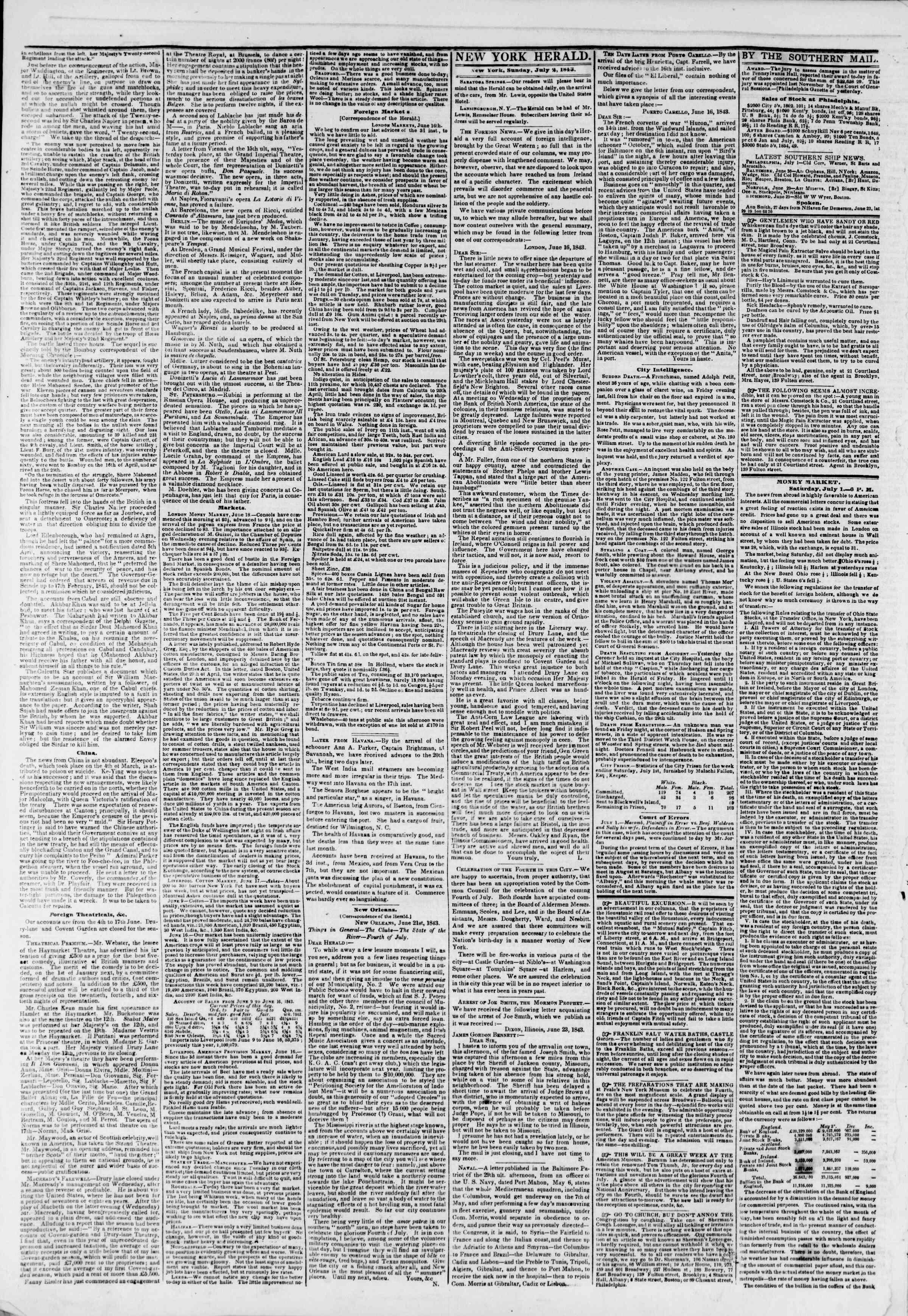 2 Temmuz 1843 tarihli The New York Herald Gazetesi Sayfa 2