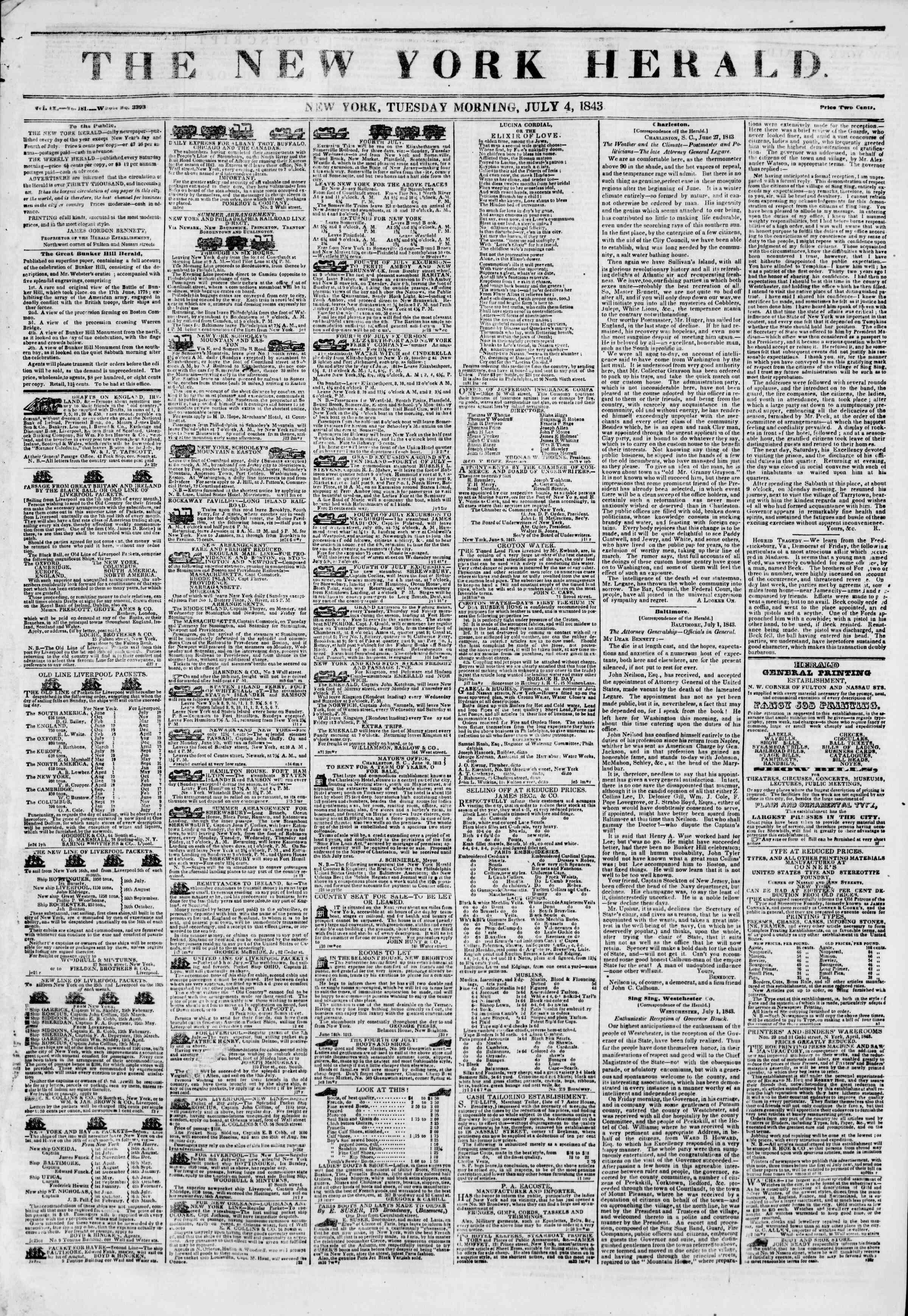 July 4, 1843 Tarihli The New York Herald Gazetesi Sayfa 1