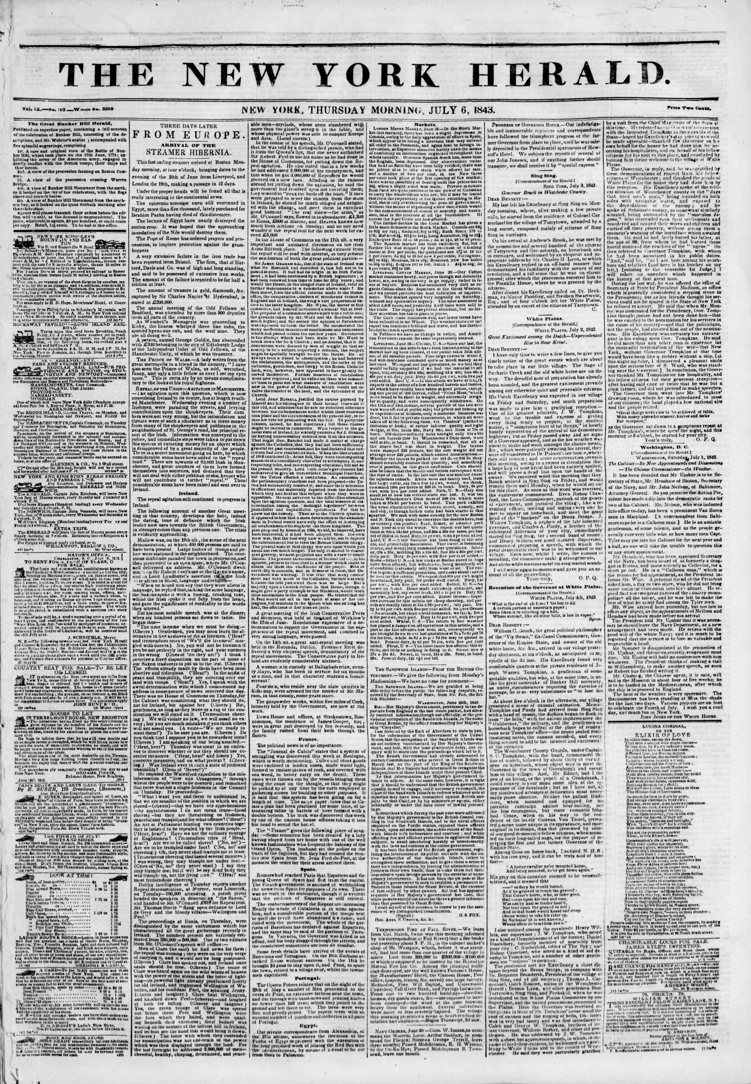 July 6, 1843 Tarihli The New York Herald Gazetesi Sayfa 1