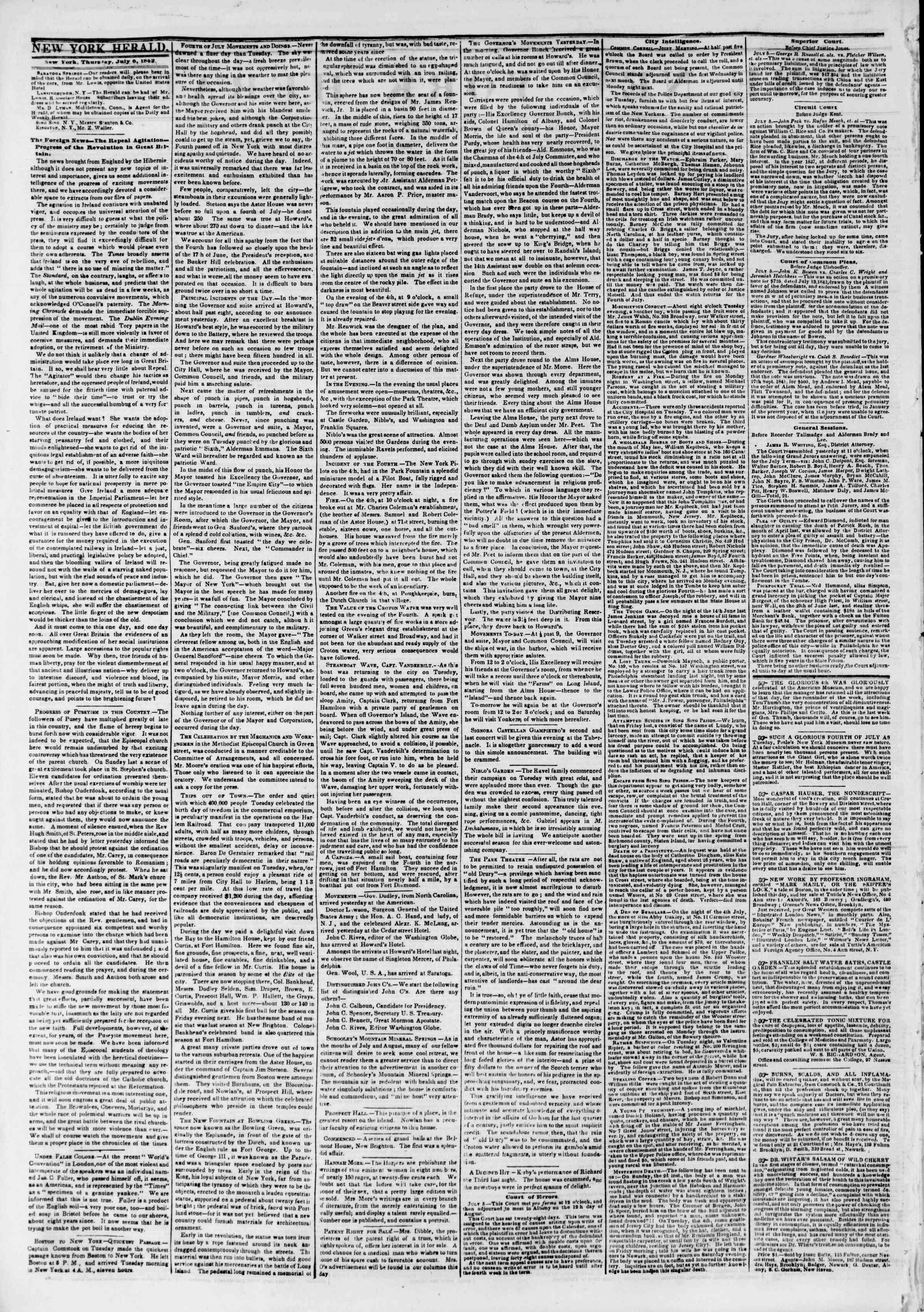 July 6, 1843 Tarihli The New York Herald Gazetesi Sayfa 2