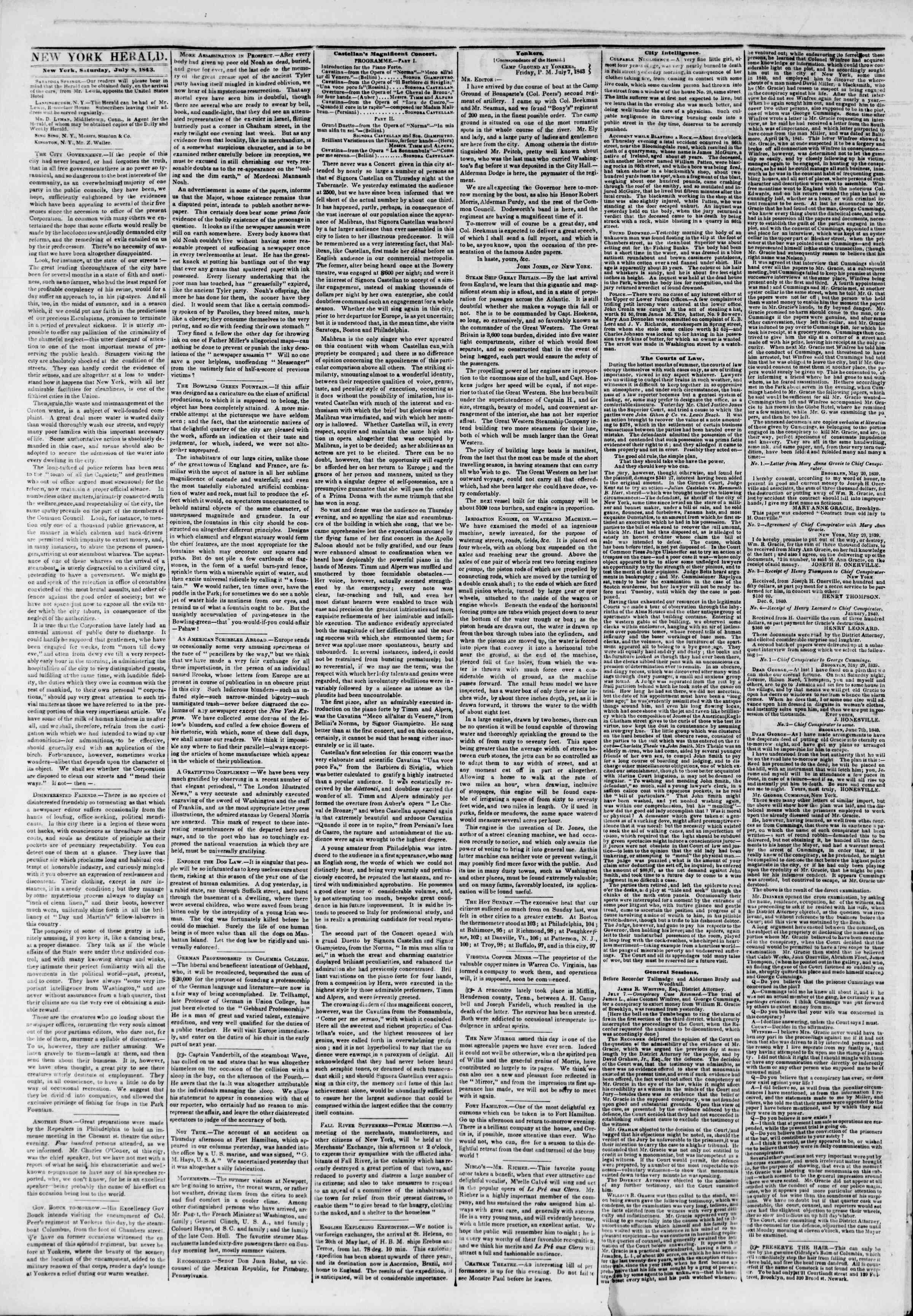 July 8, 1843 Tarihli The New York Herald Gazetesi Sayfa 2