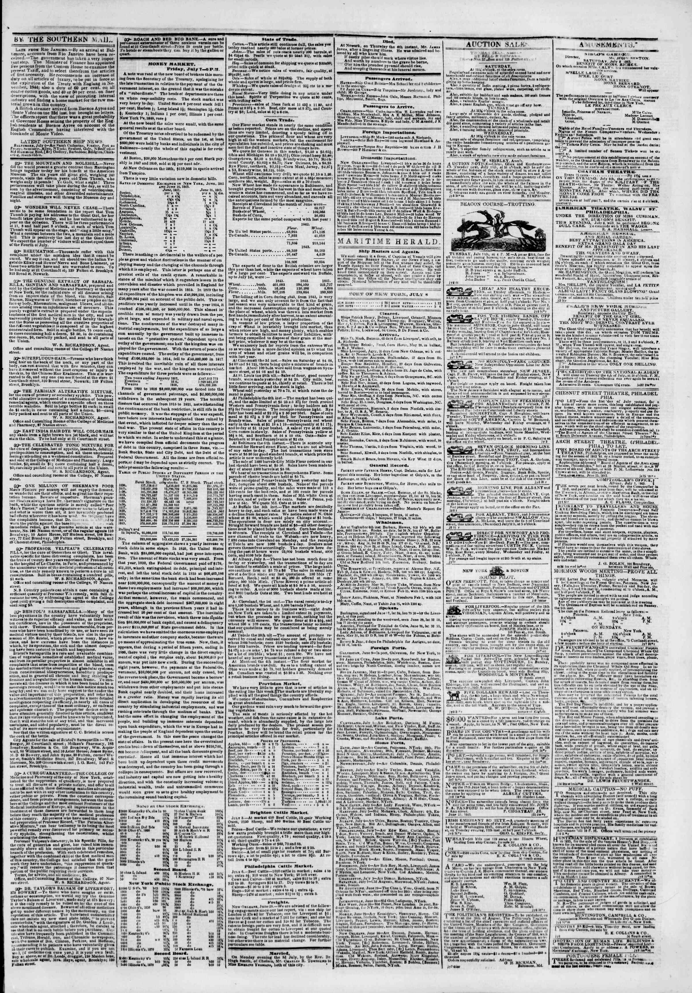 Newspaper of The New York Herald dated July 8, 1843 Page 3