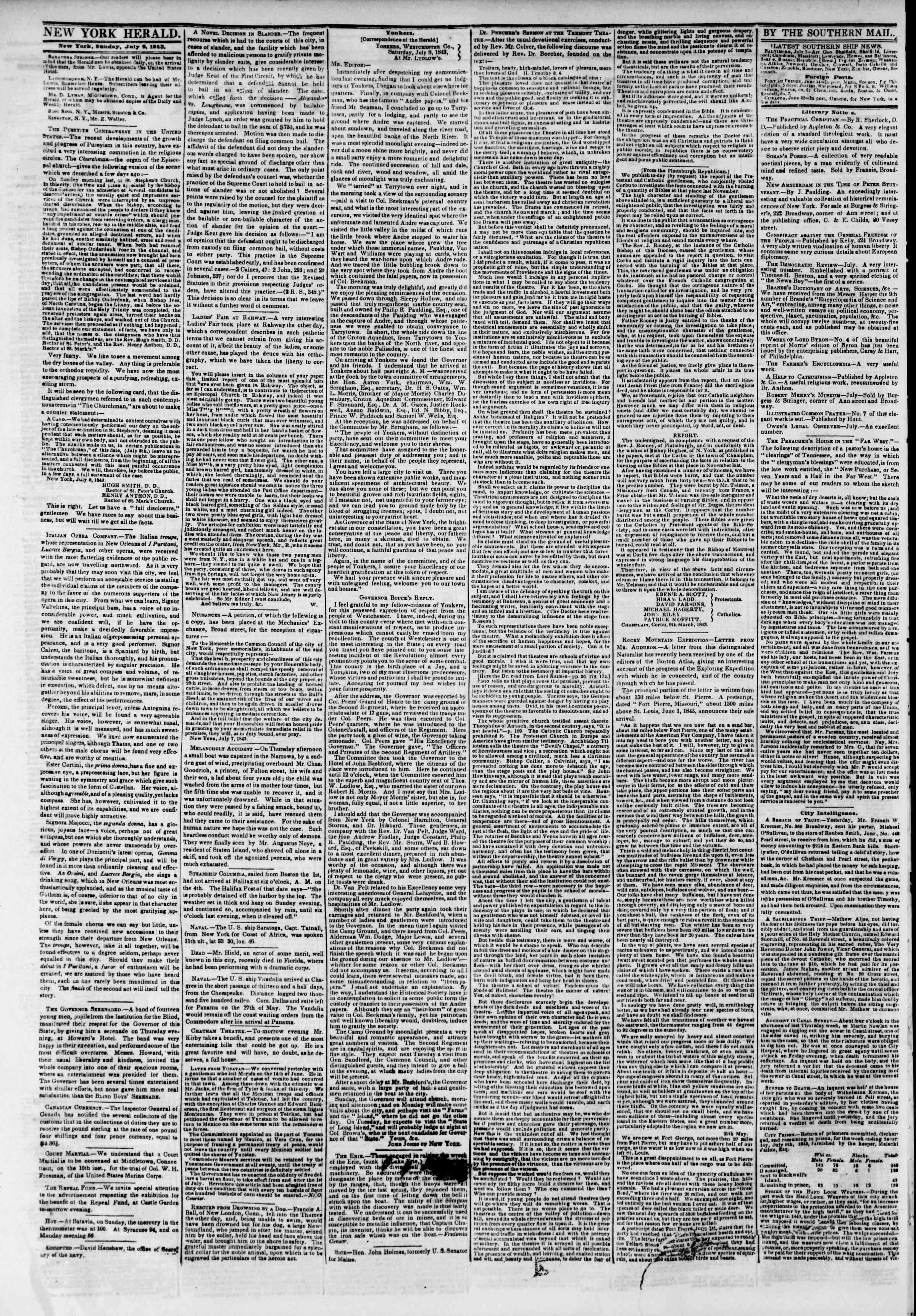 July 9, 1843 Tarihli The New York Herald Gazetesi Sayfa 2