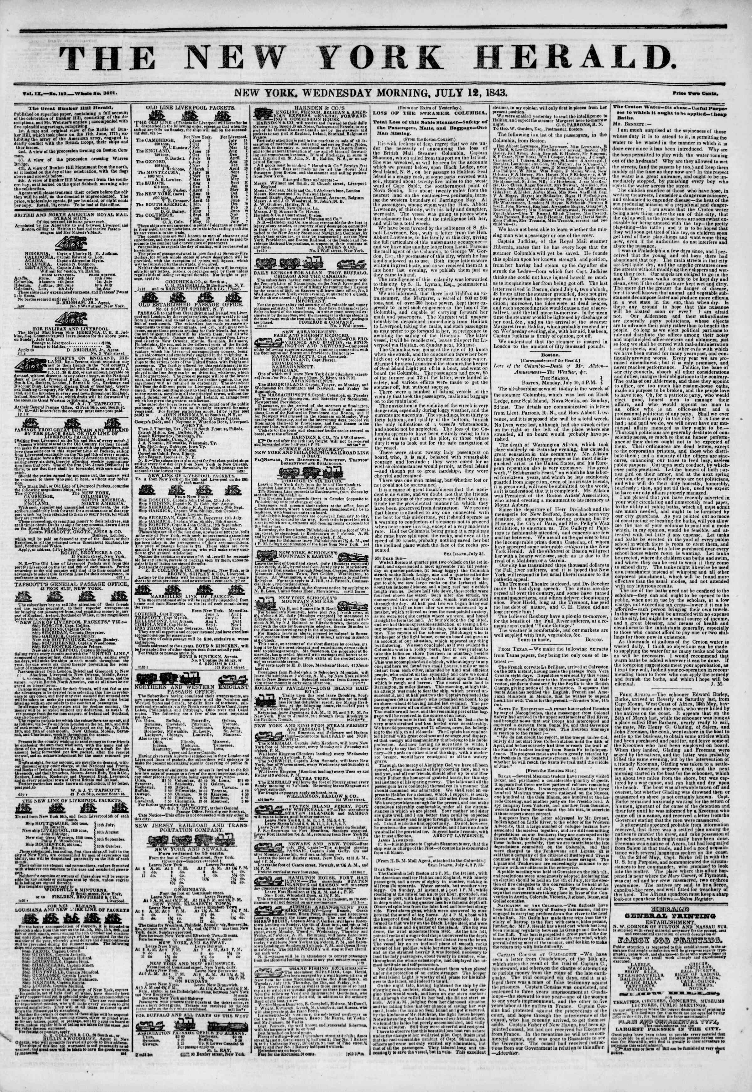 July 12, 1843 Tarihli The New York Herald Gazetesi Sayfa 1