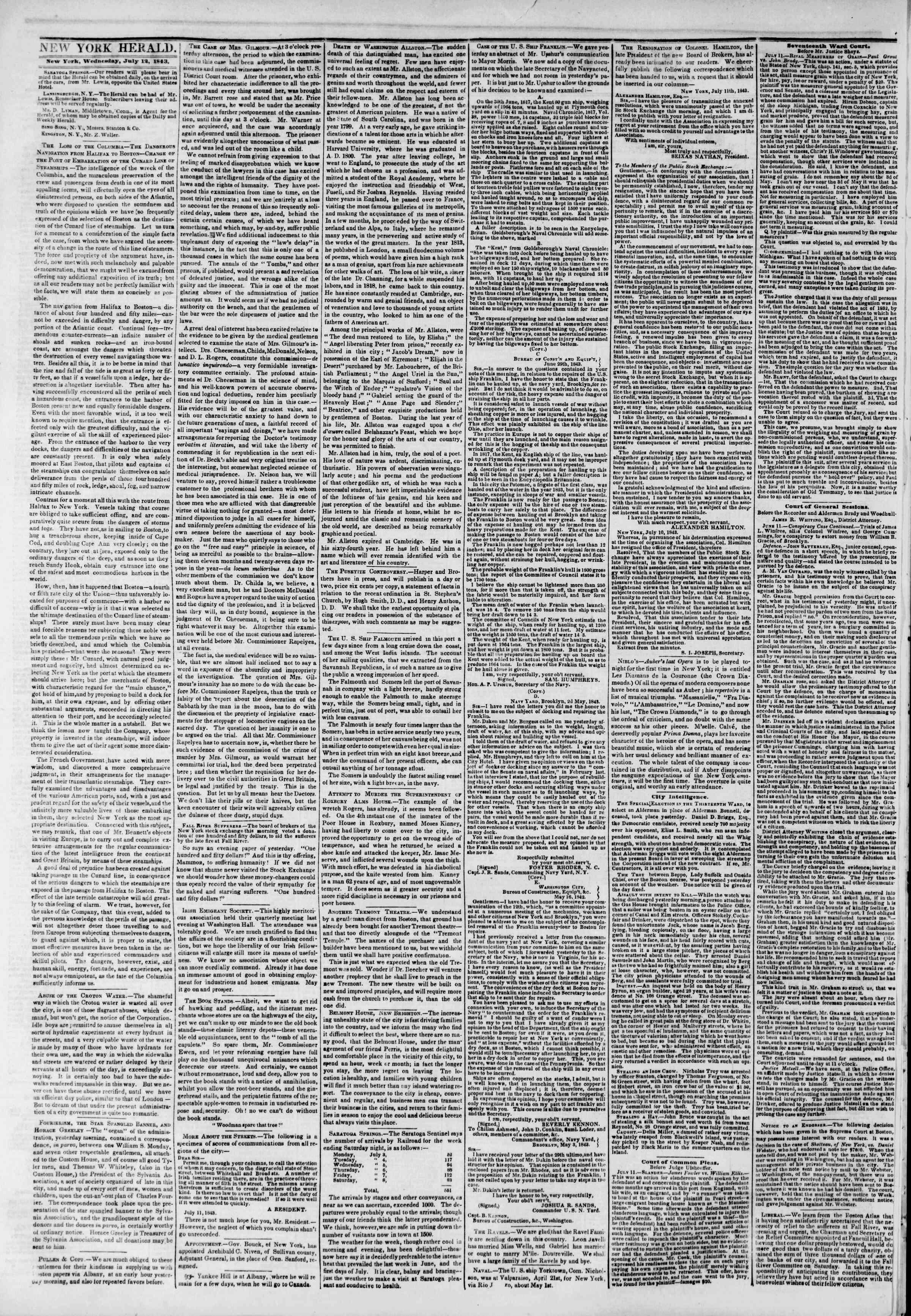 July 12, 1843 Tarihli The New York Herald Gazetesi Sayfa 2