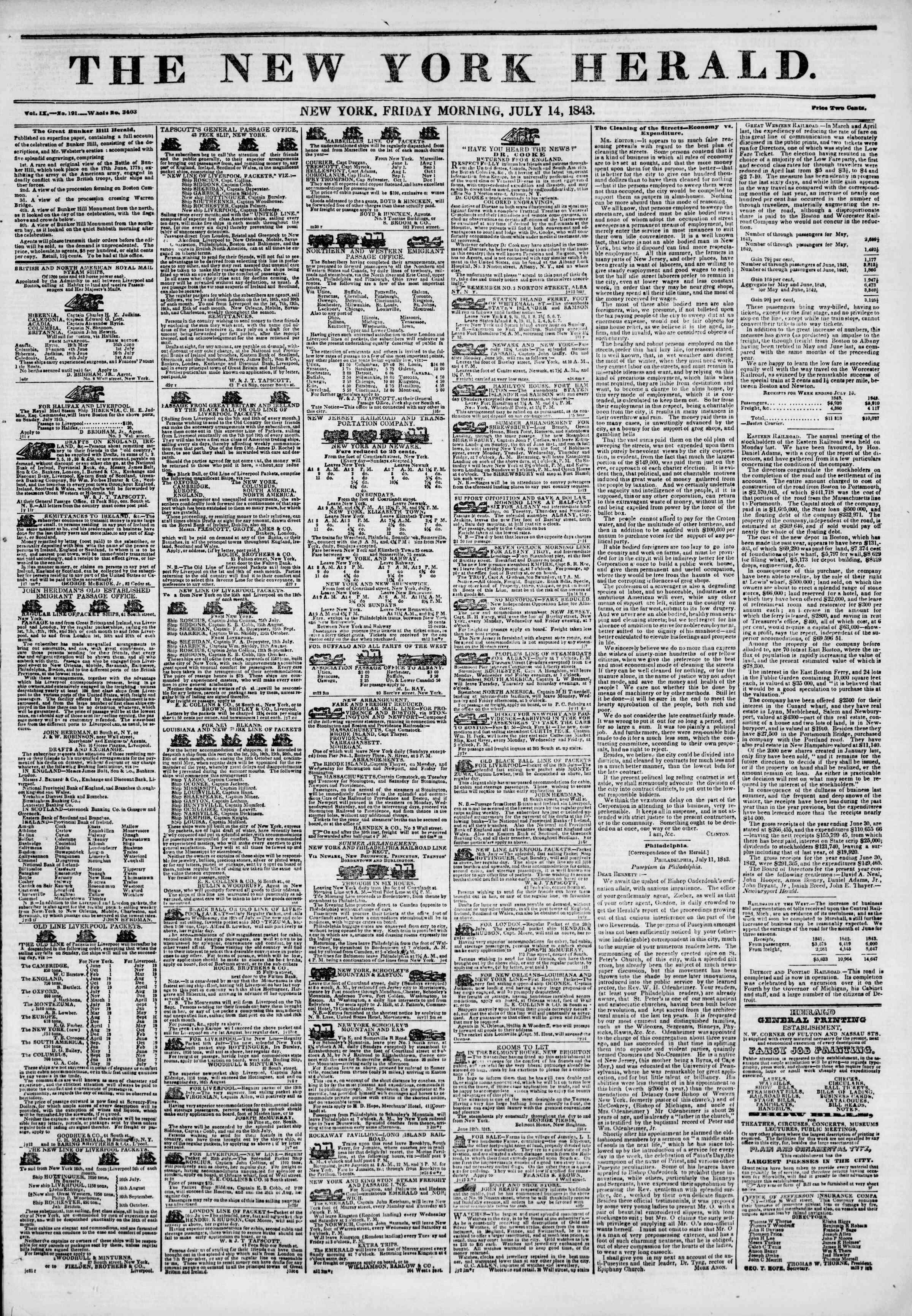 July 14, 1843 Tarihli The New York Herald Gazetesi Sayfa 1