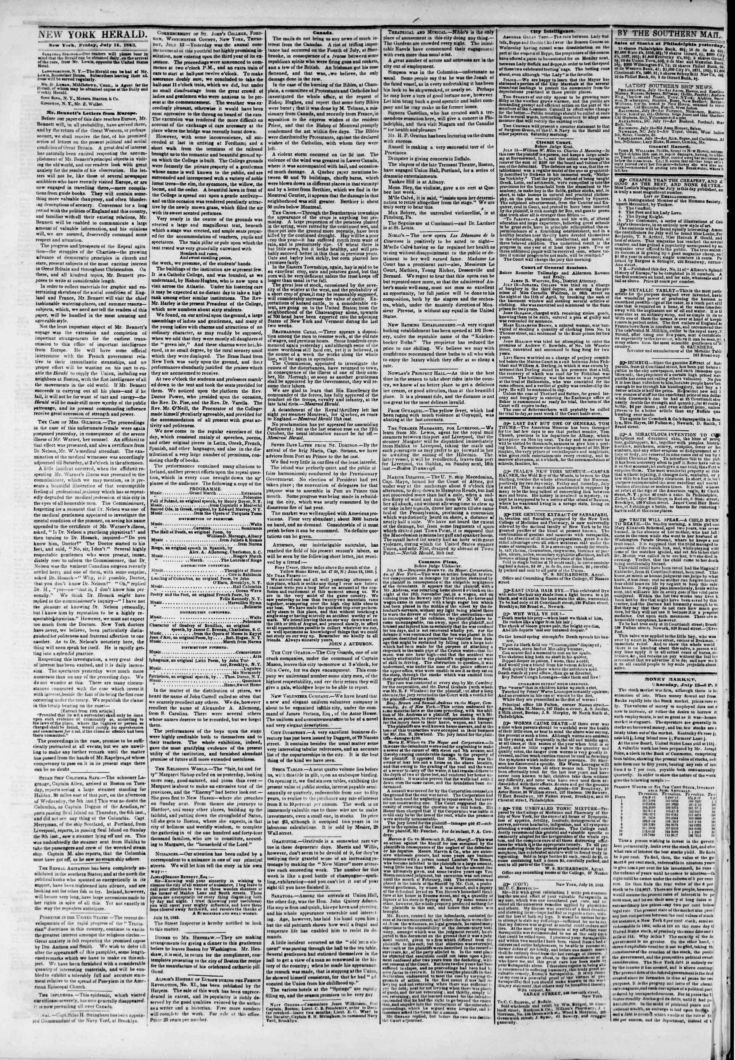 July 14, 1843 Tarihli The New York Herald Gazetesi Sayfa 2