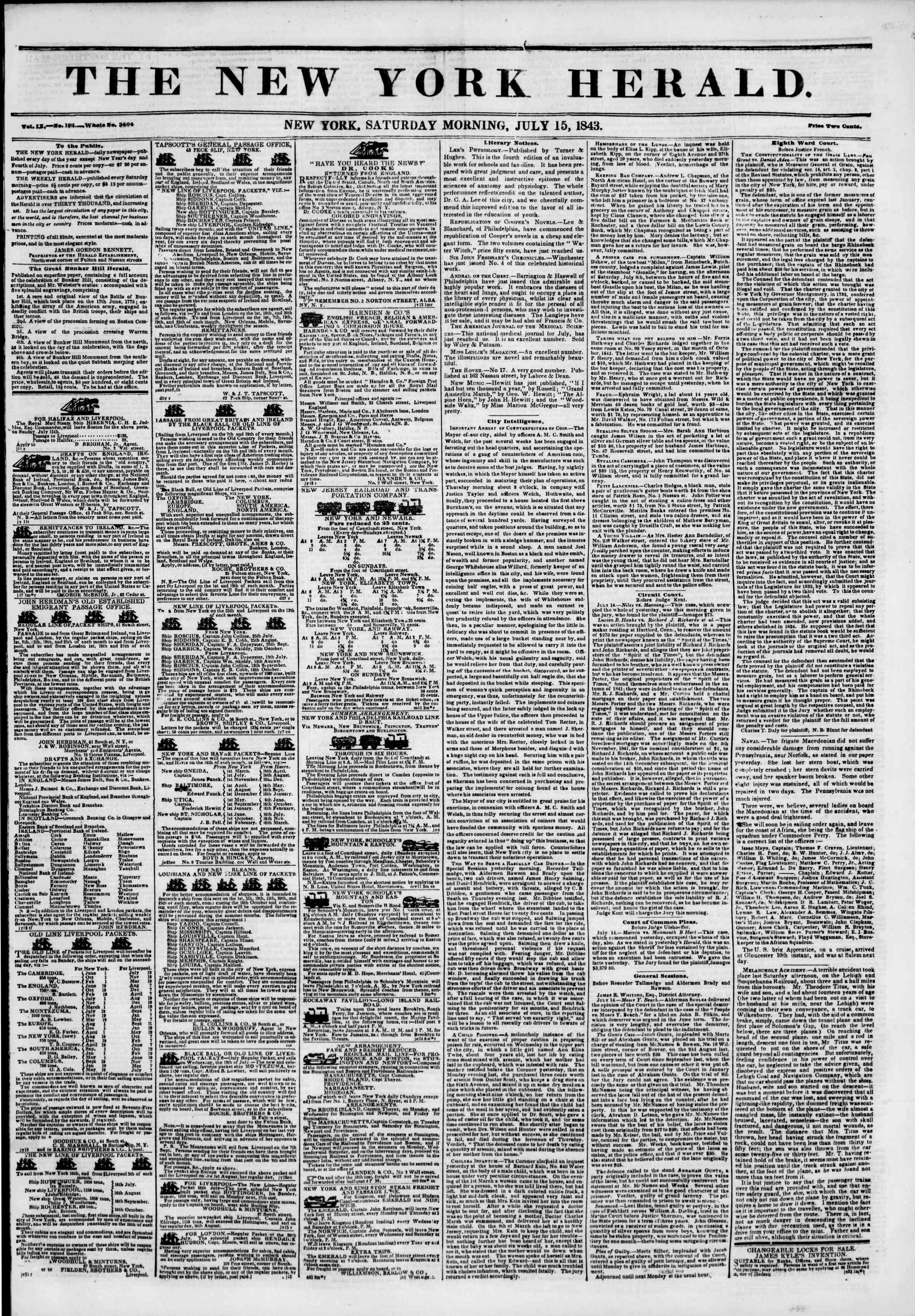 July 15, 1843 Tarihli The New York Herald Gazetesi Sayfa 1