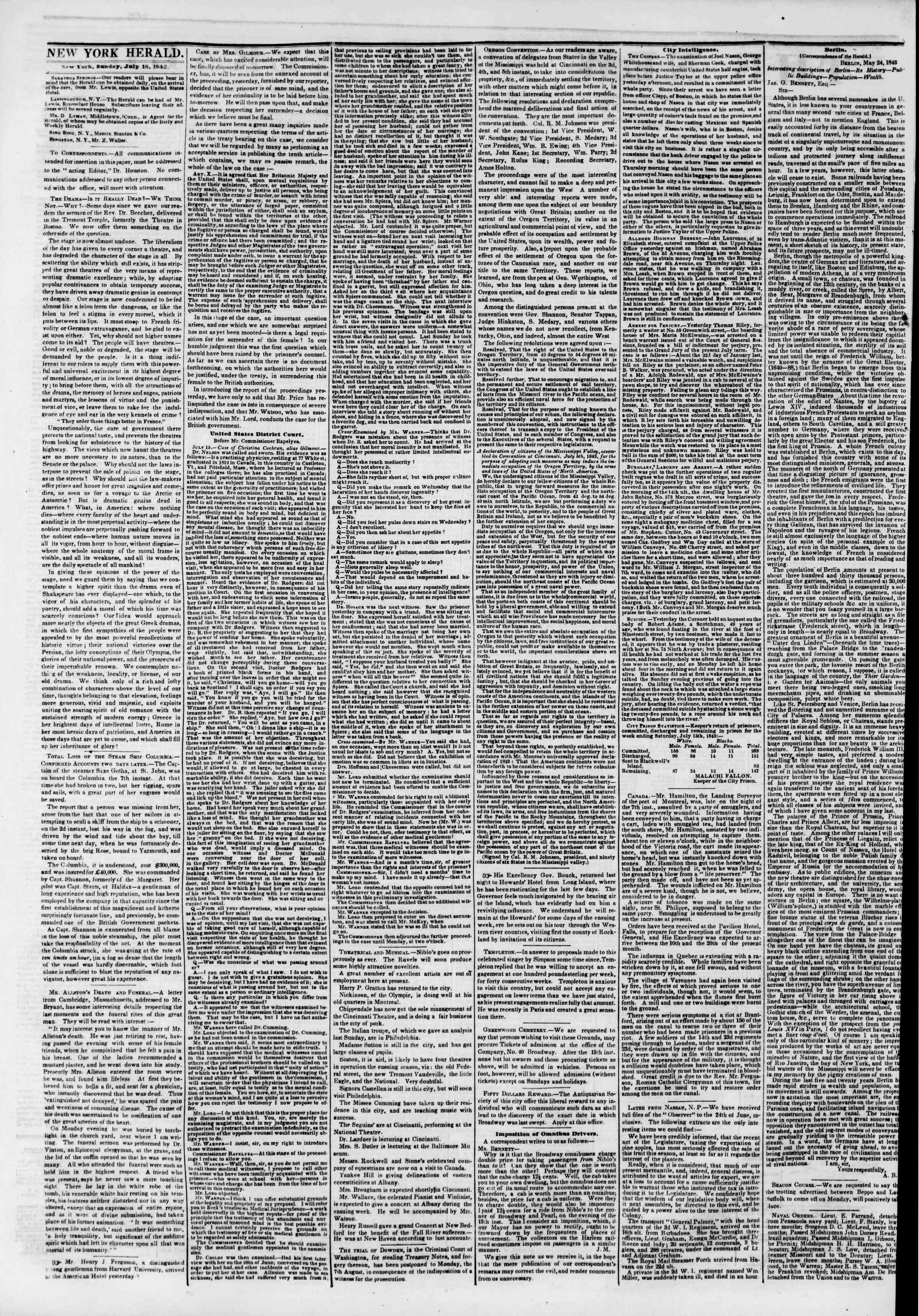 Newspaper of The New York Herald dated July 16, 1843 Page 2