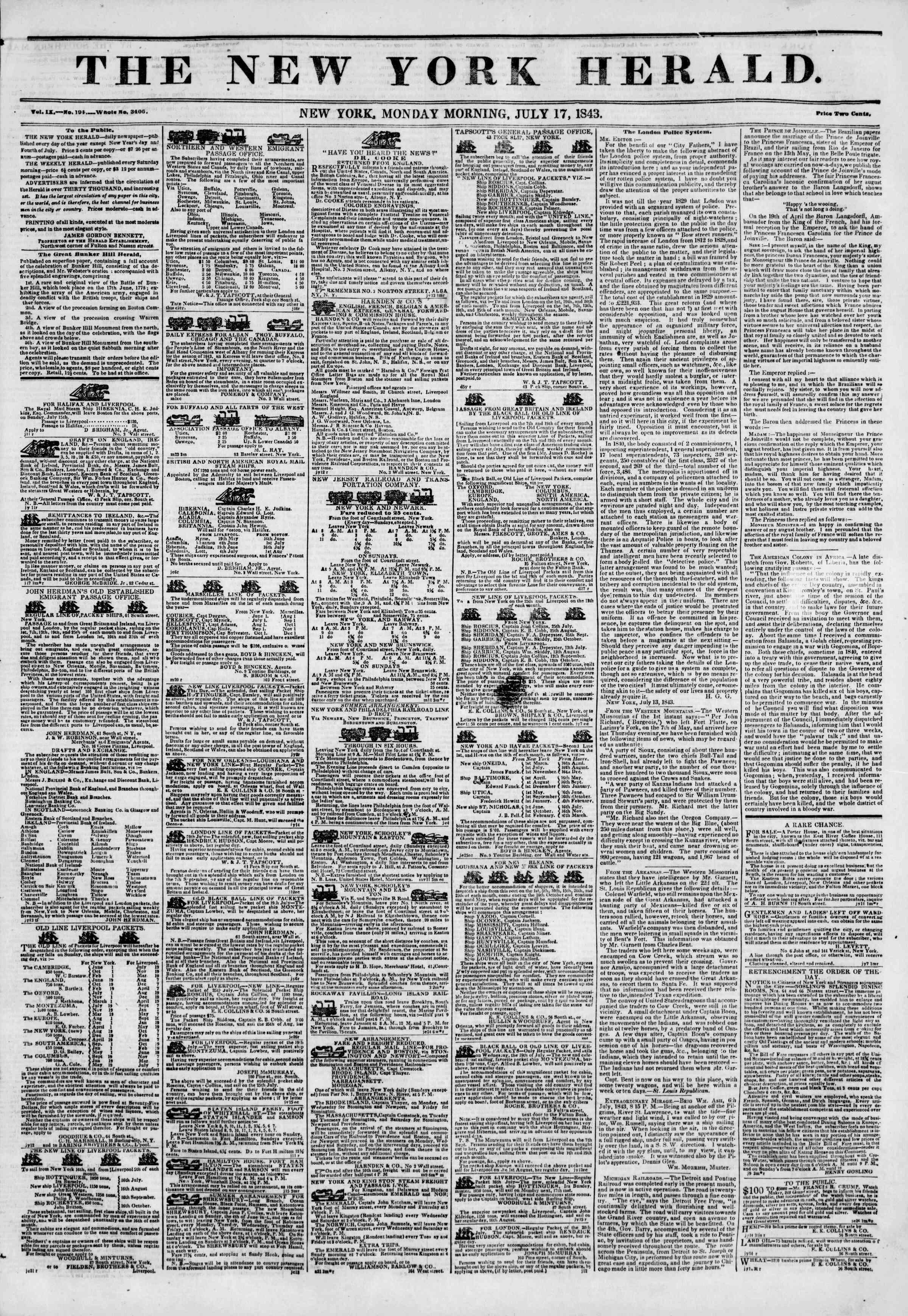 July 17, 1843 Tarihli The New York Herald Gazetesi Sayfa 1
