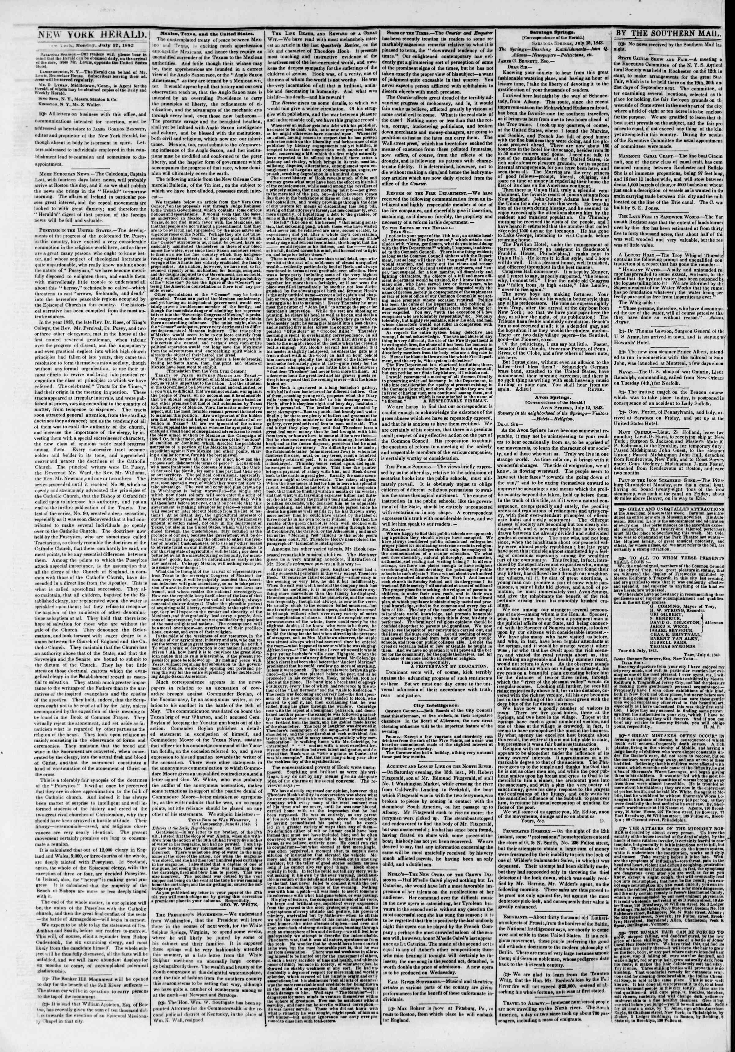 17 Temmuz 1843 tarihli The New York Herald Gazetesi Sayfa 2