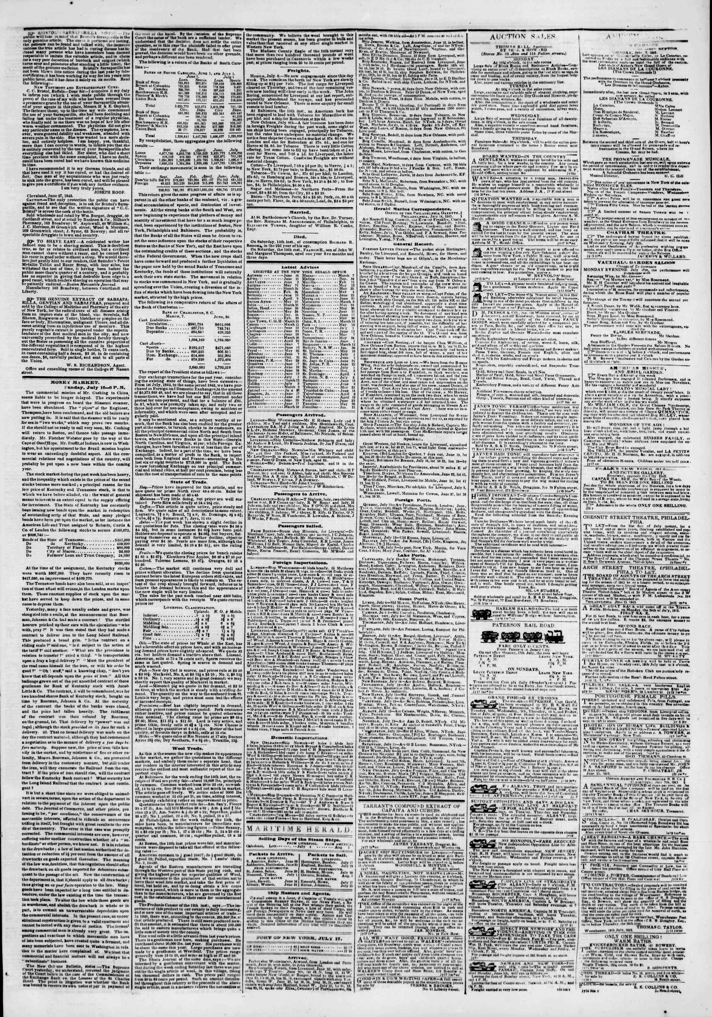 Newspaper of The New York Herald dated July 17, 1843 Page 3