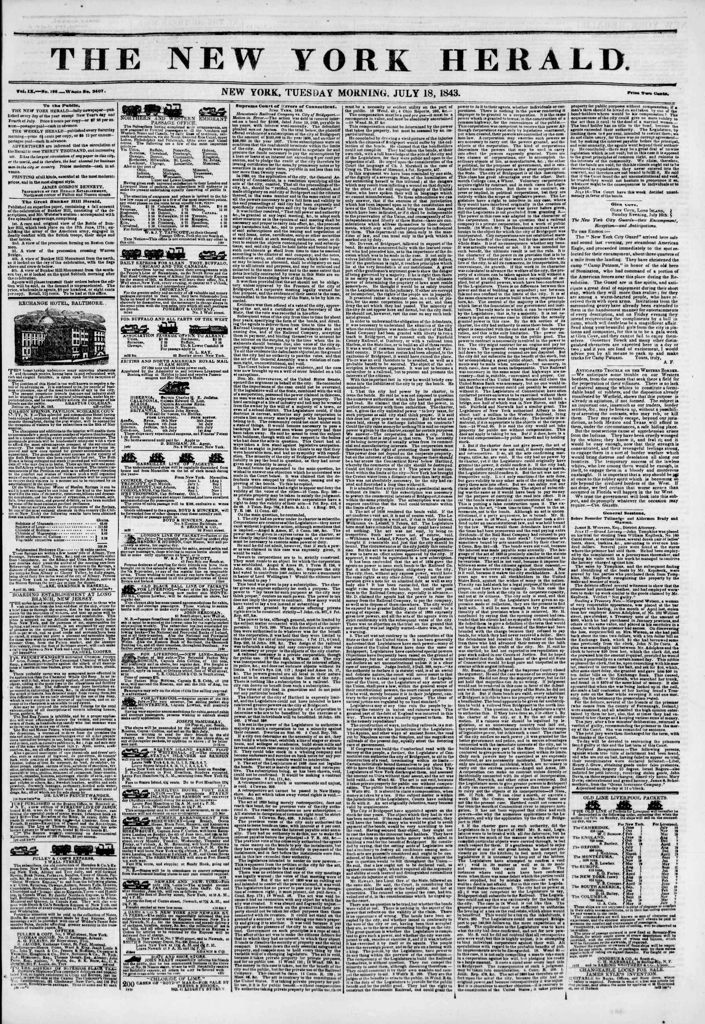 Newspaper of The New York Herald dated July 18, 1843 Page 1