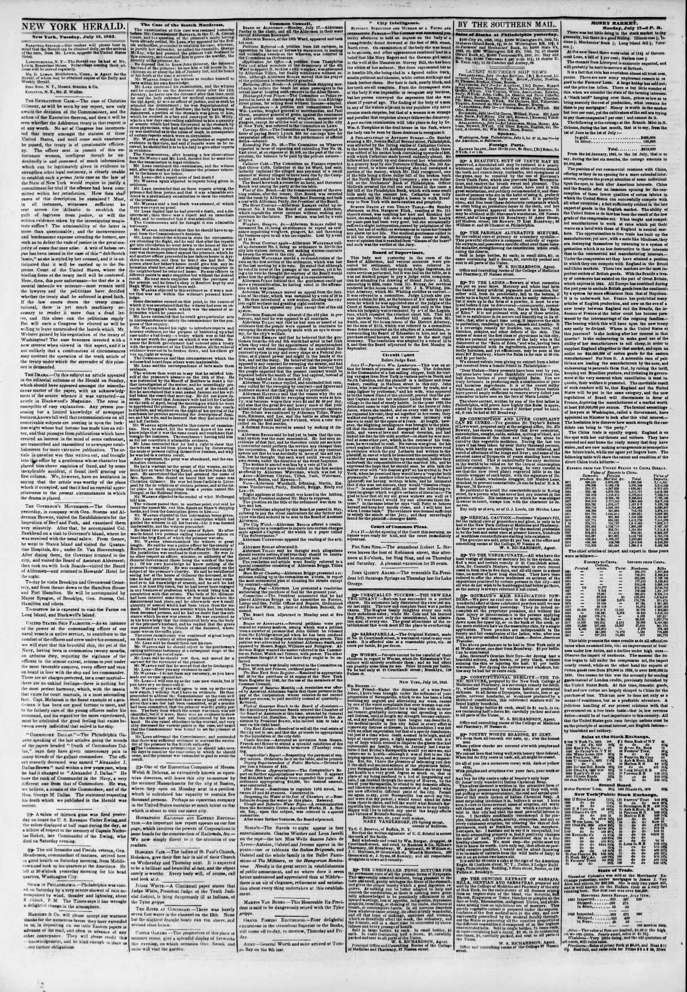 July 18, 1843 Tarihli The New York Herald Gazetesi Sayfa 2