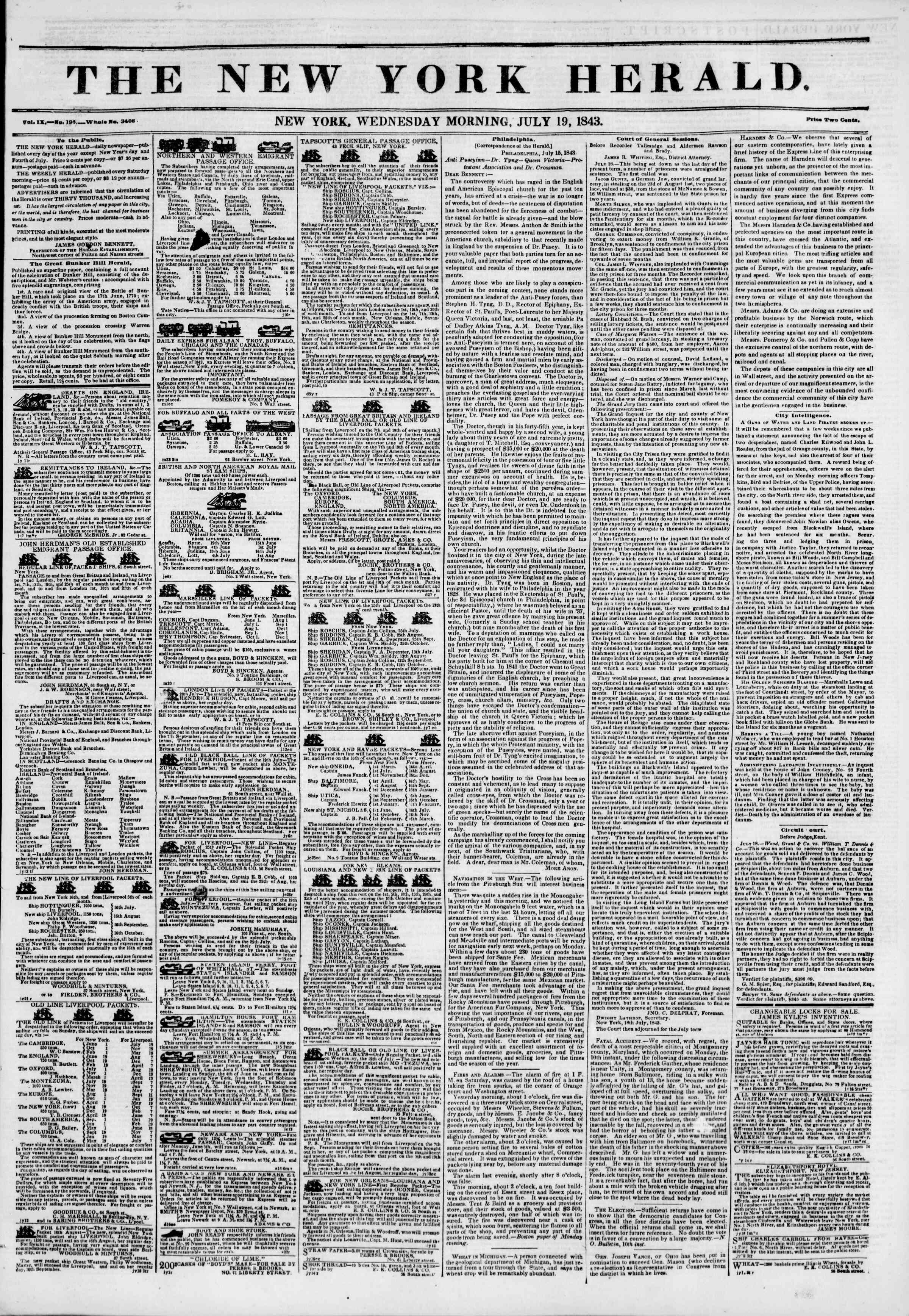 Newspaper of The New York Herald dated July 19, 1843 Page 1
