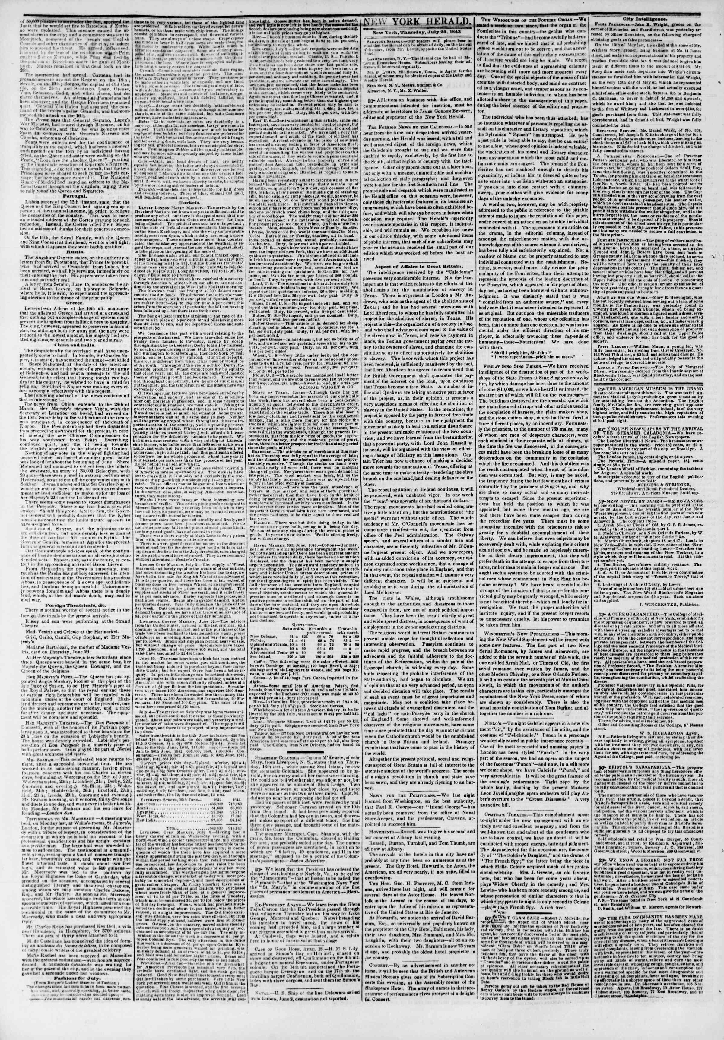 July 20, 1843 Tarihli The New York Herald Gazetesi Sayfa 2