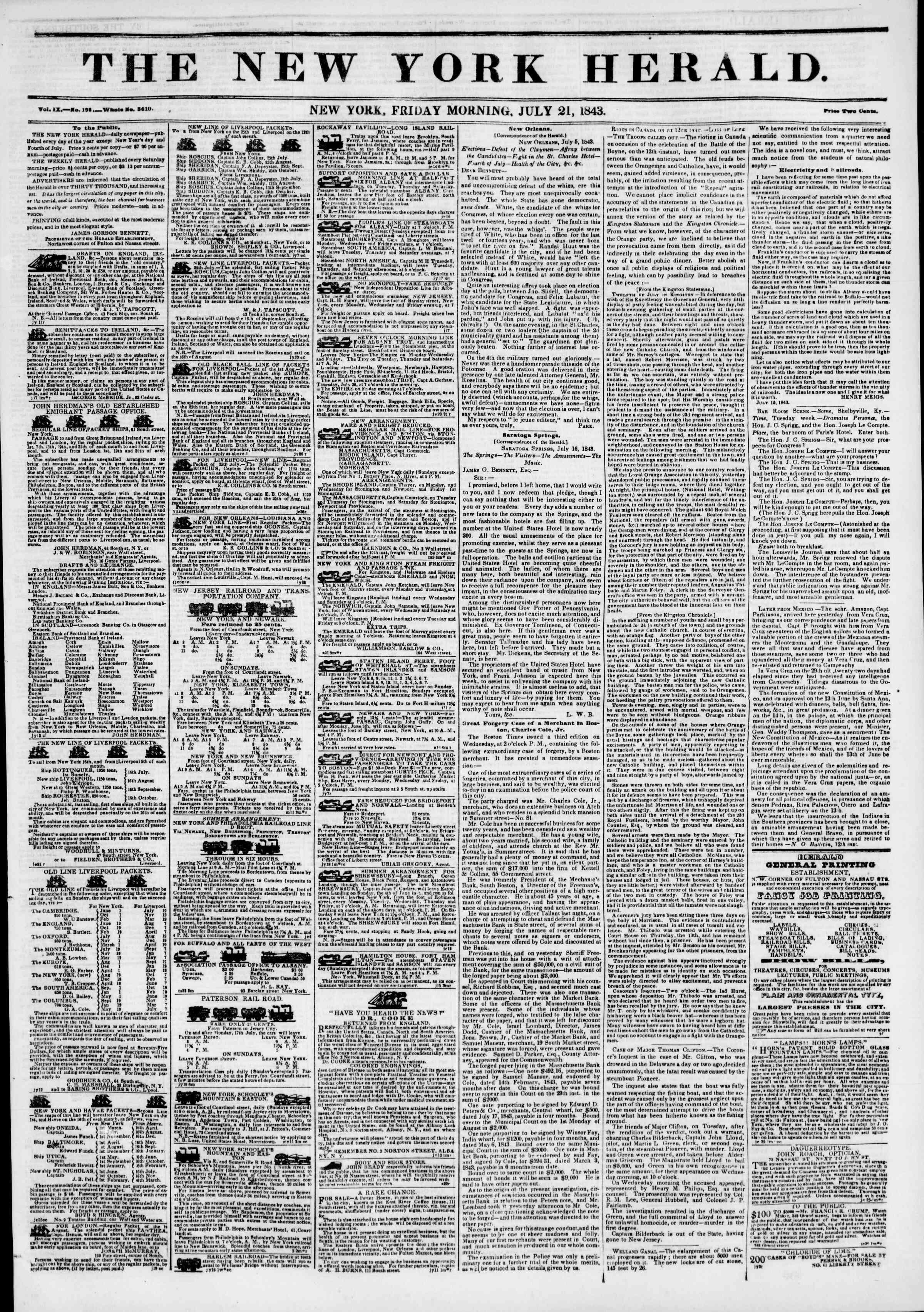 July 21, 1843 Tarihli The New York Herald Gazetesi Sayfa 1