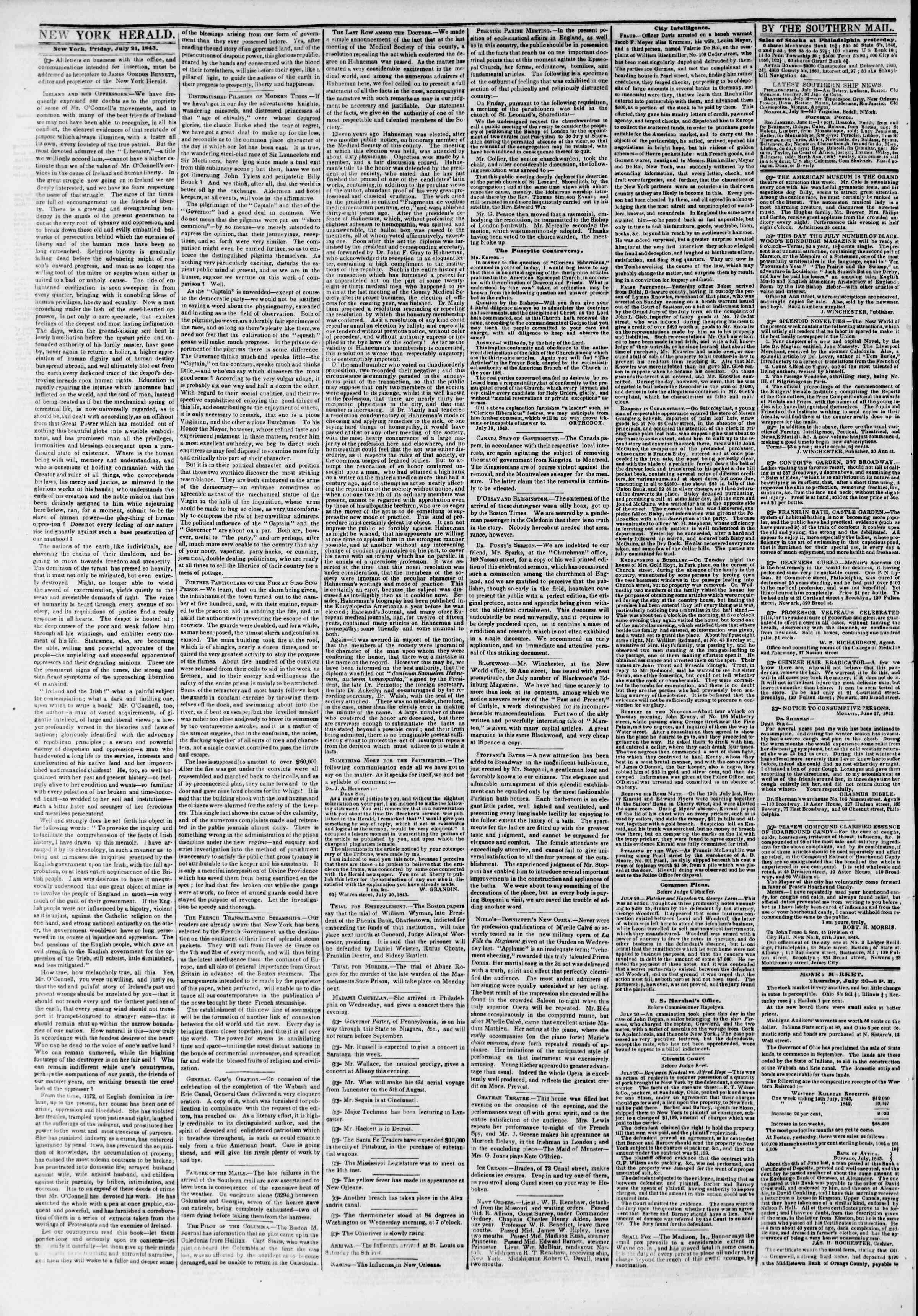 Newspaper of The New York Herald dated July 21, 1843 Page 2