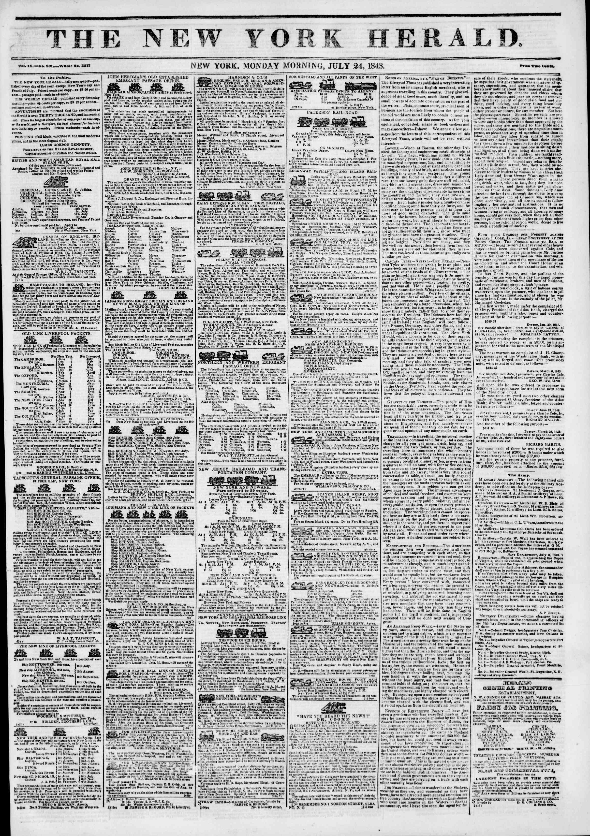 Newspaper of The New York Herald dated July 24, 1843 Page 1